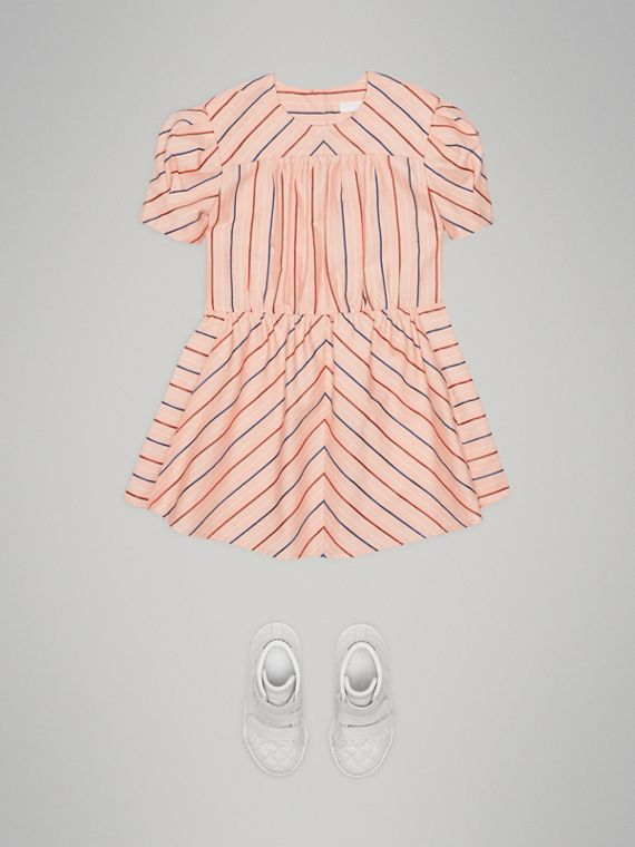 Striped Cotton Silk Panelled Dress in Pale Pink - Girl | Burberry - cell image 2