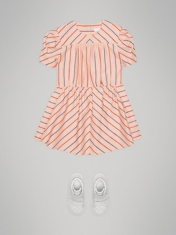 Striped Cotton Silk Panelled Dress in Pale Pink | Burberry - cell image 2
