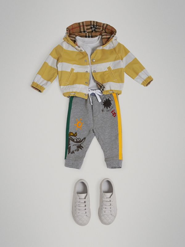 Stripe Detail Cotton Sweatpants in Grey Melange - Children | Burberry Australia - cell image 2