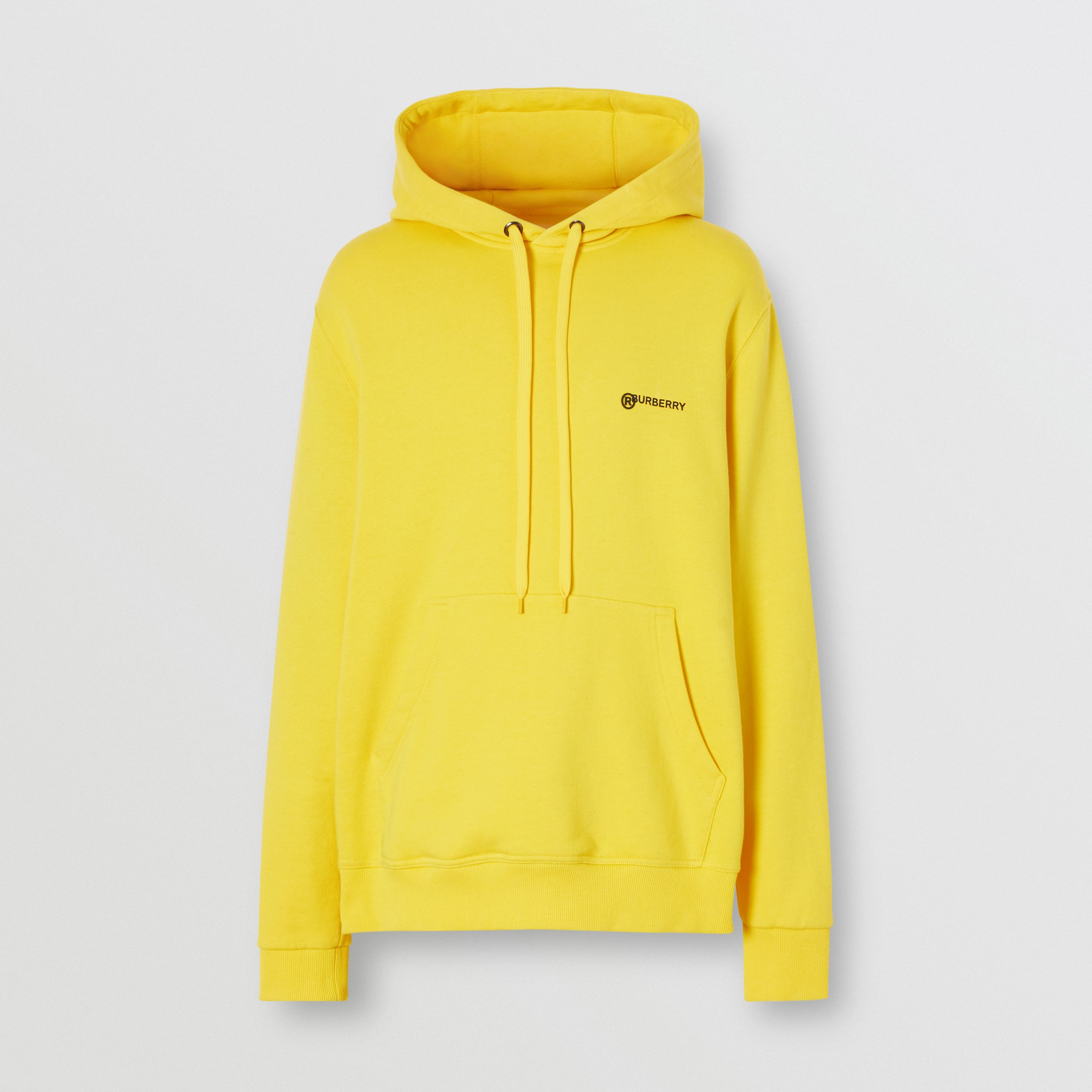 Logo Print Cotton Hoodie in Canary Yellow - Men | Burberry - 3