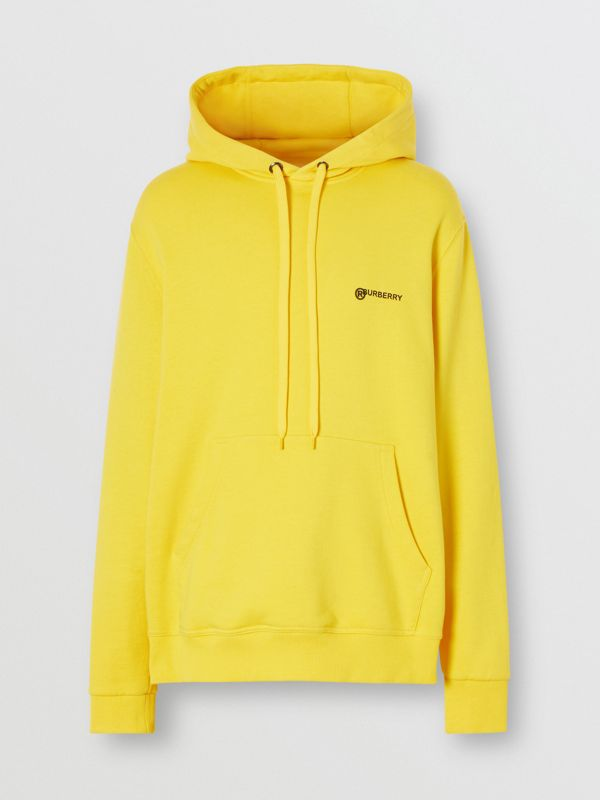 Logo Print Cotton Hoodie in Canary Yellow - Men | Burberry - cell image 2