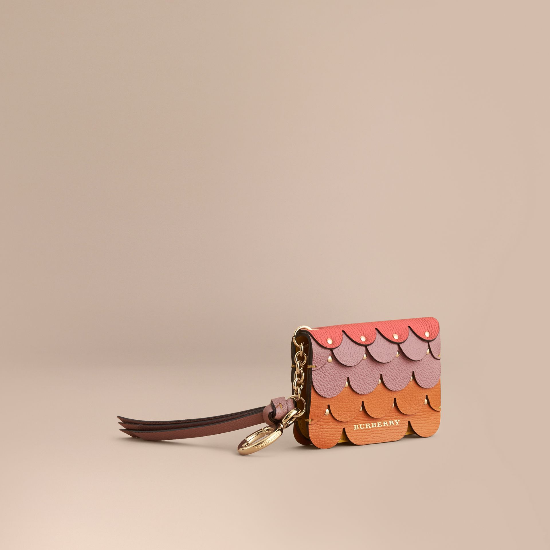 Scalloped Leather Card Case in Bright Straw - Women | Burberry - gallery image 1
