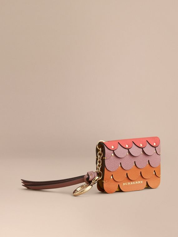 Scalloped Leather Card Case in Bright Straw