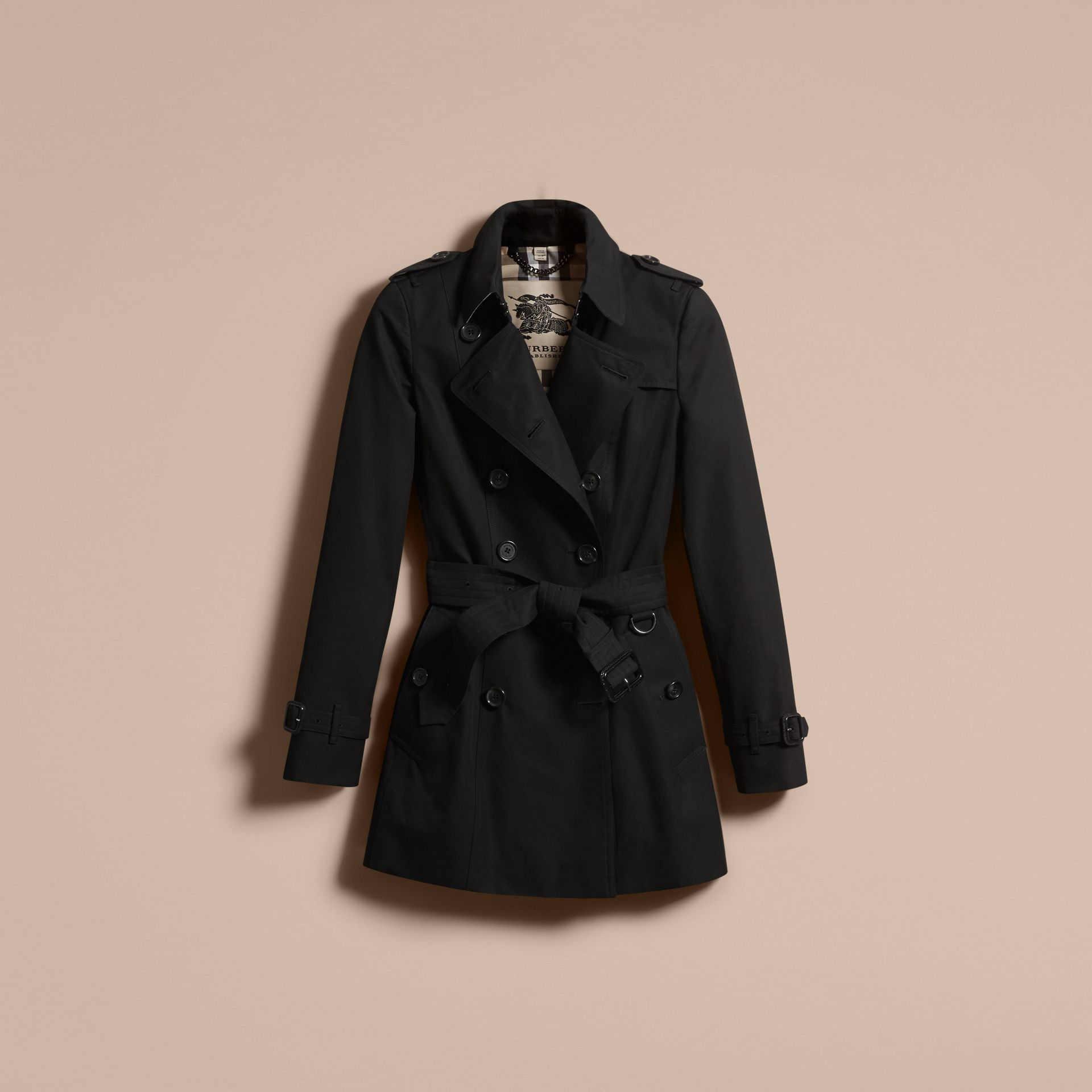Black The Chelsea – Short Heritage Trench Coat Black - gallery image 4