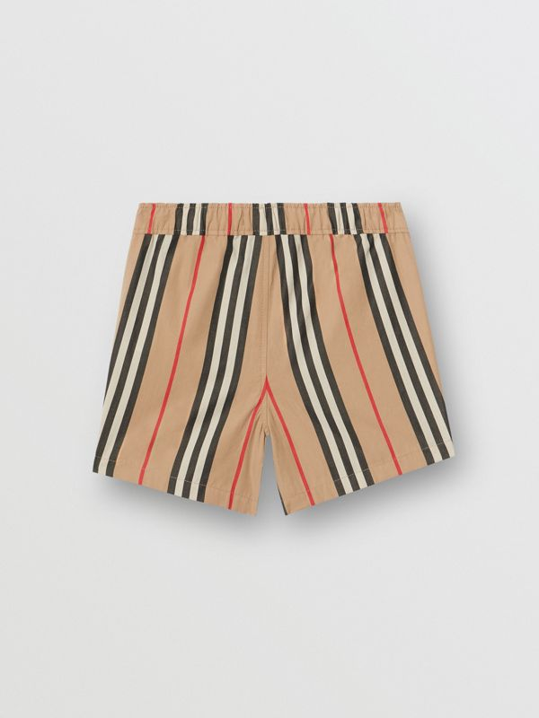 Icon Stripe Cotton Poplin Shorts in Archive Beige - Children | Burberry Singapore - cell image 3