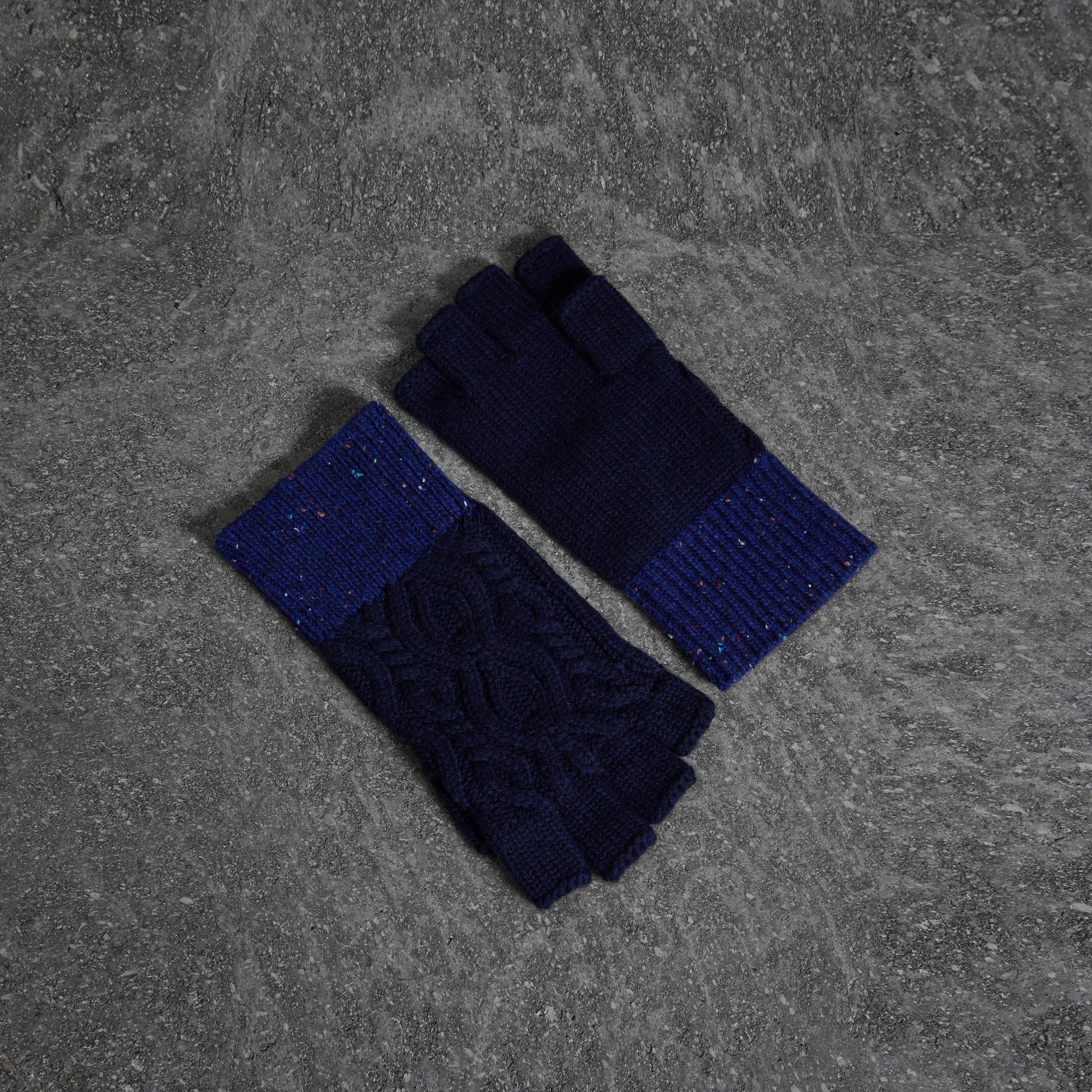 Wool Cashmere Fingerless Gloves in Navy | Burberry - gallery image 0