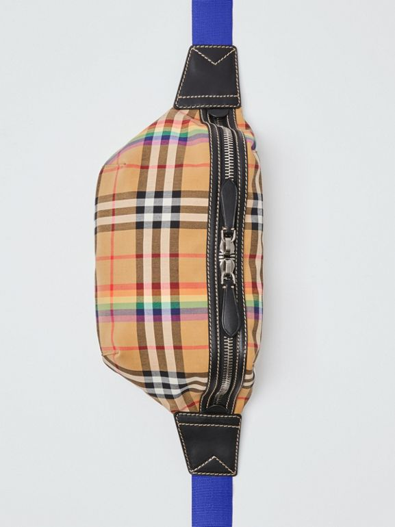 Medium Rainbow Vintage Check Bum Bag in Antique Yellow | Burberry United Kingdom - cell image 1