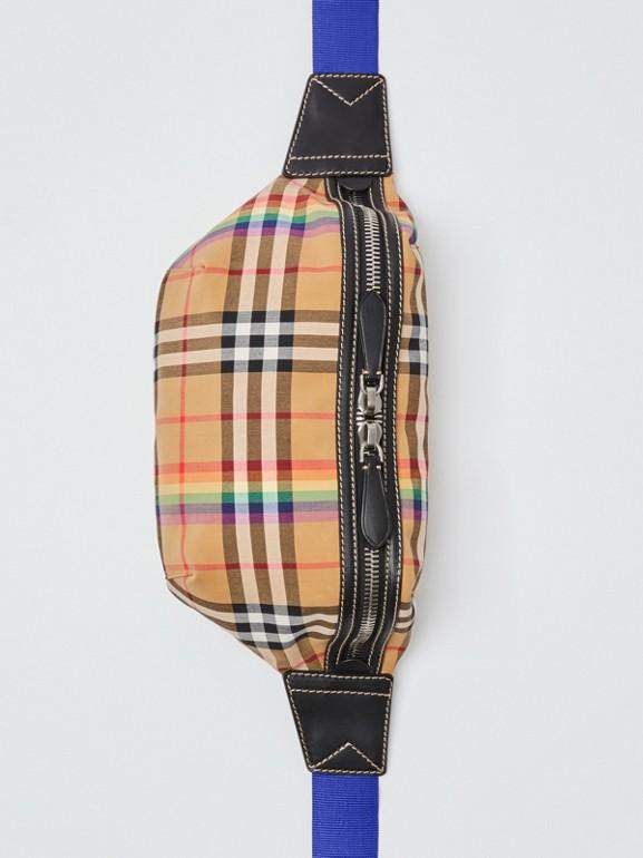 Medium Rainbow Vintage Check Bum Bag in Antique Yellow | Burberry Australia - cell image 1