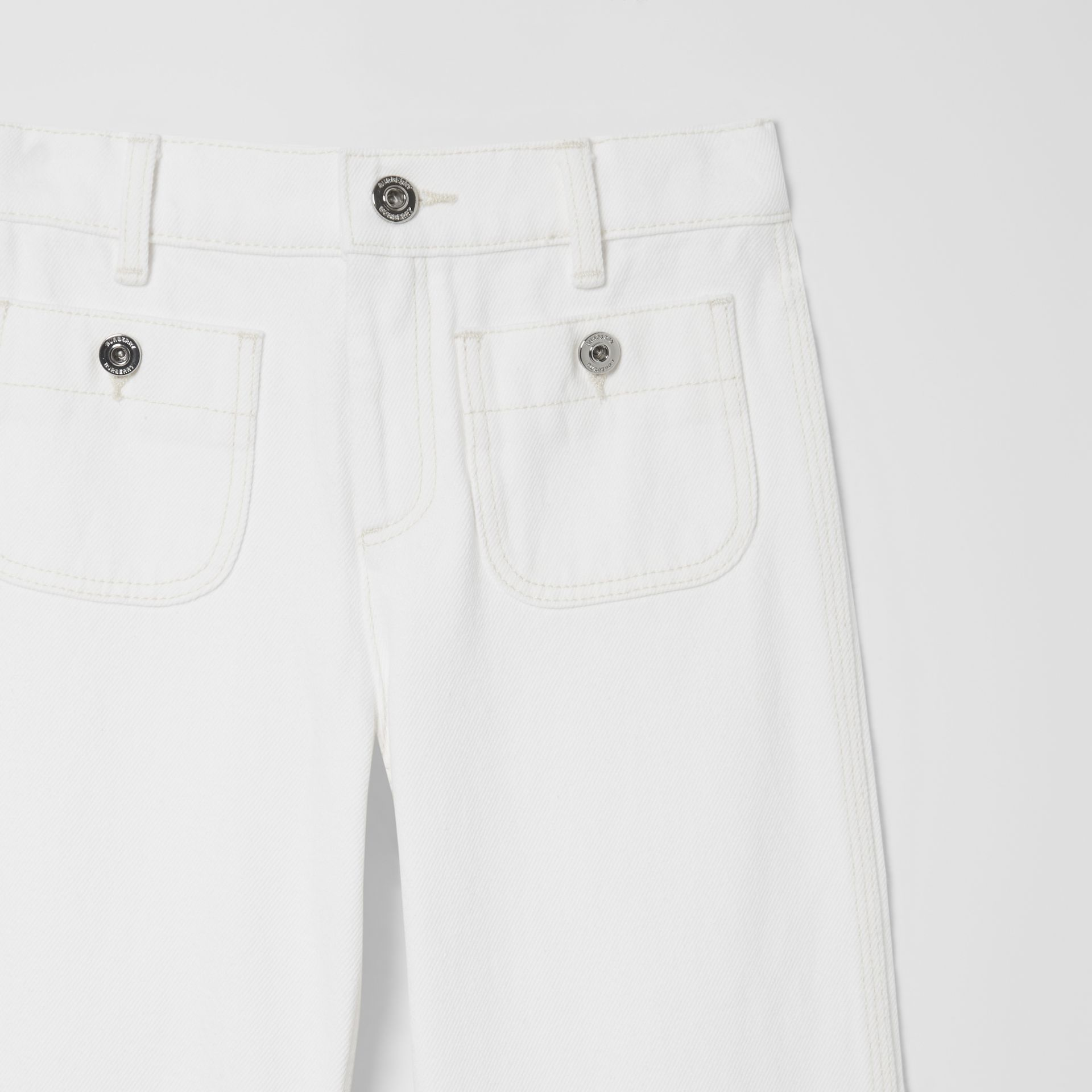 Logo Print Japanese Denim Jeans in Natural White   Burberry United Kingdom - gallery image 4