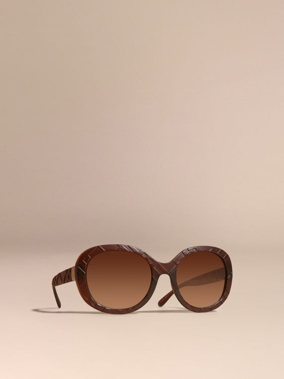 3D Check Round Frame Sunglasses Brown