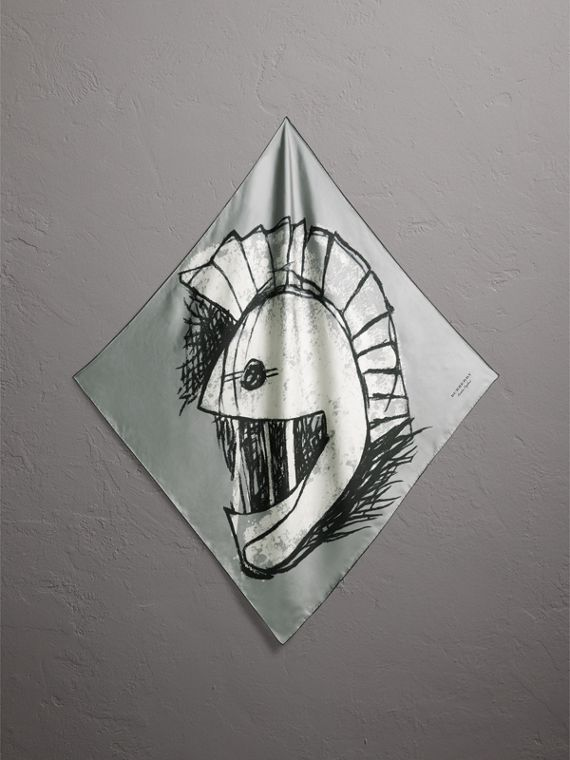 Pallas Helmet Motif Silk Square – Small in Grey