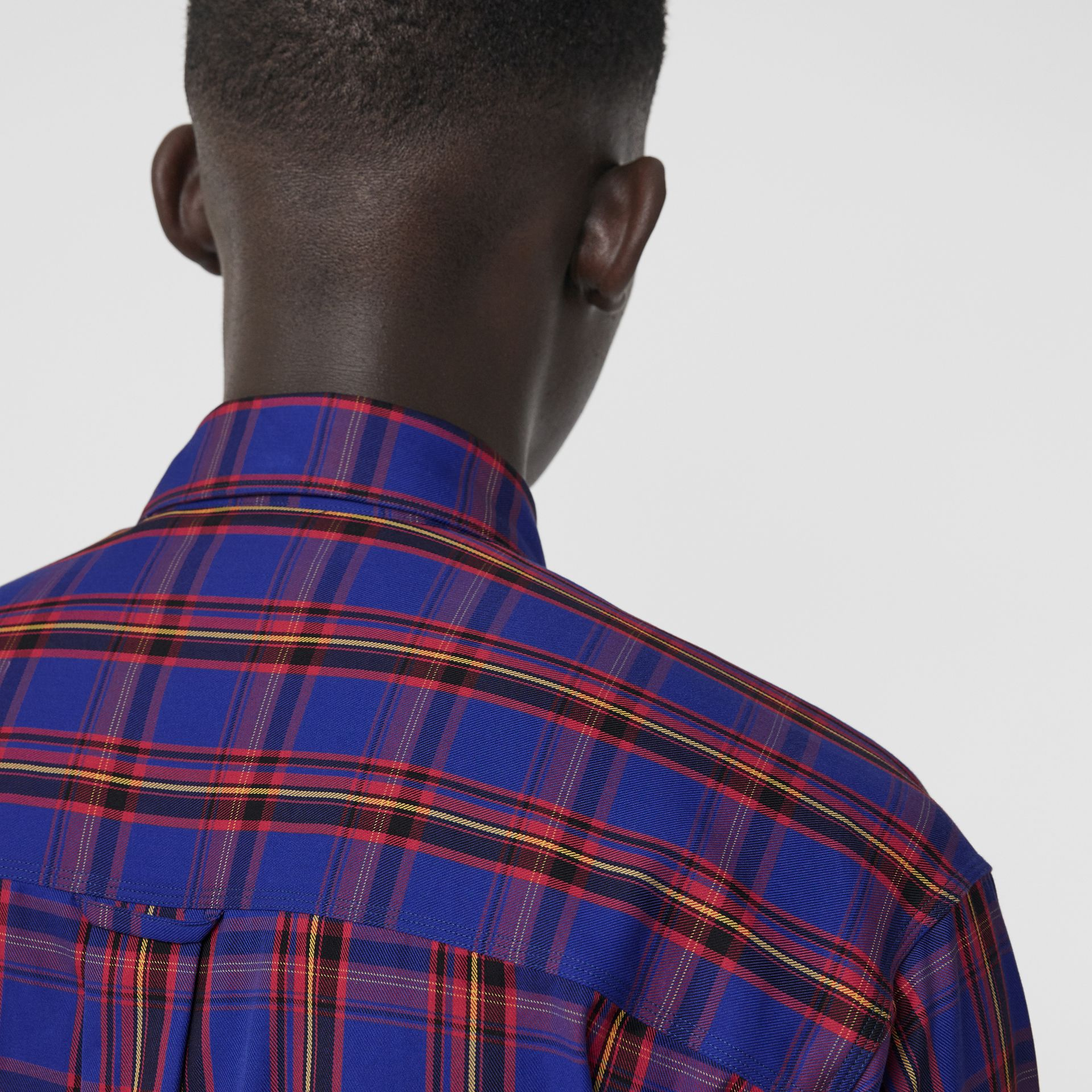 Check Cotton Twill Shirt in Bright Blue - Men | Burberry United States - gallery image 4