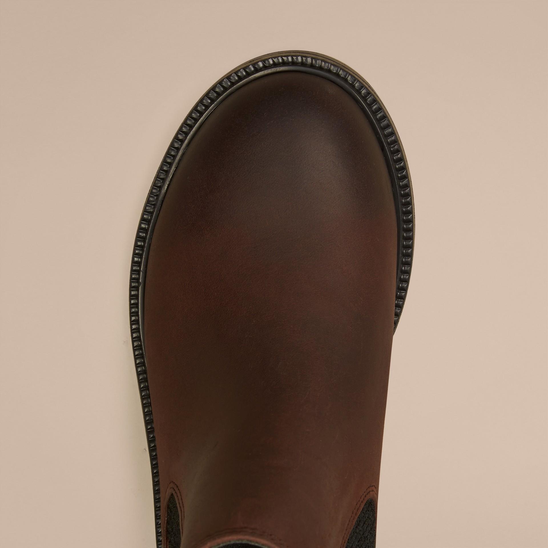 Edelschokoladenbraun Chelsea-Stiefel aus Leder - Galerie-Bild 3