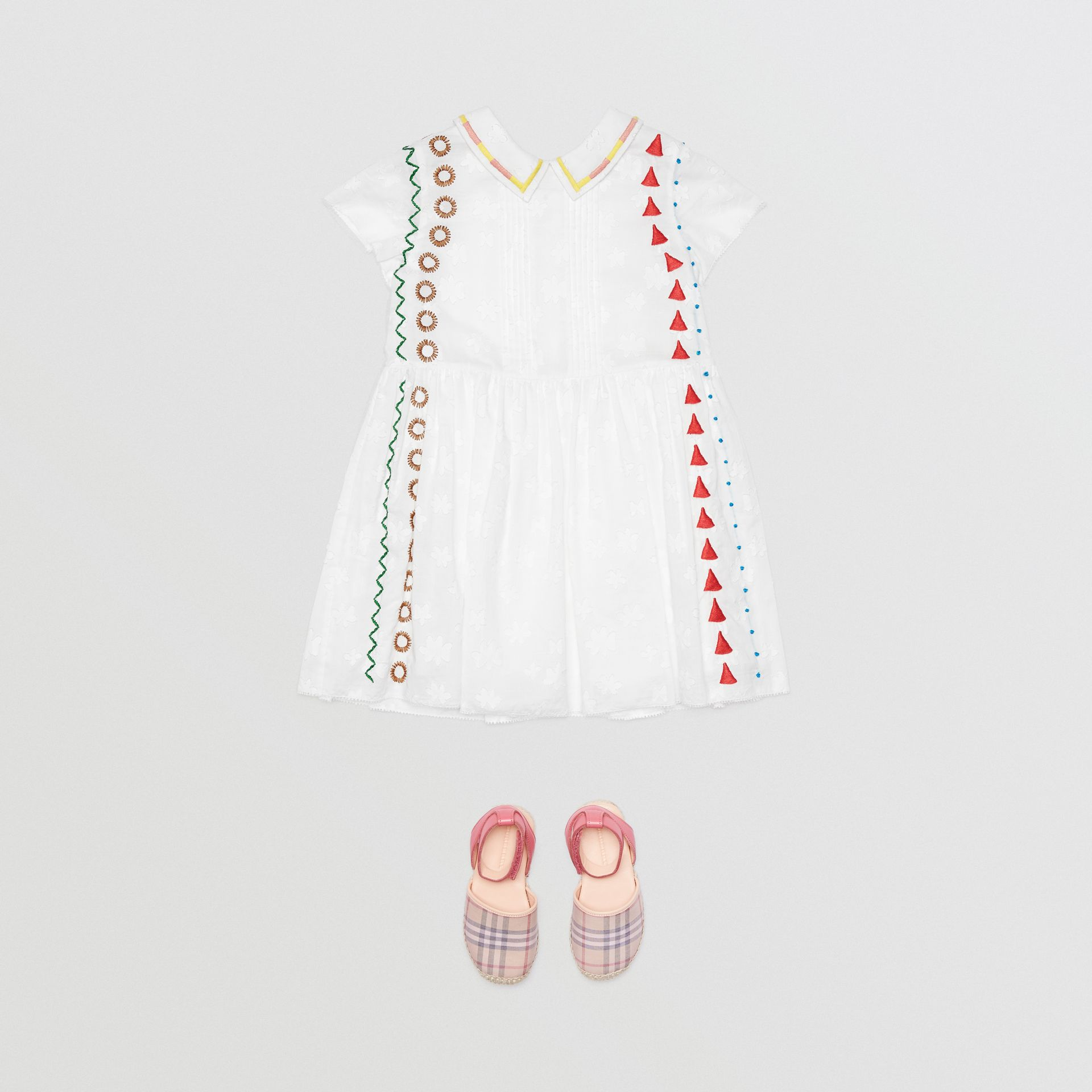 Peter Pan Collar Embroidered Cotton Dress in White | Burberry United Kingdom - gallery image 2