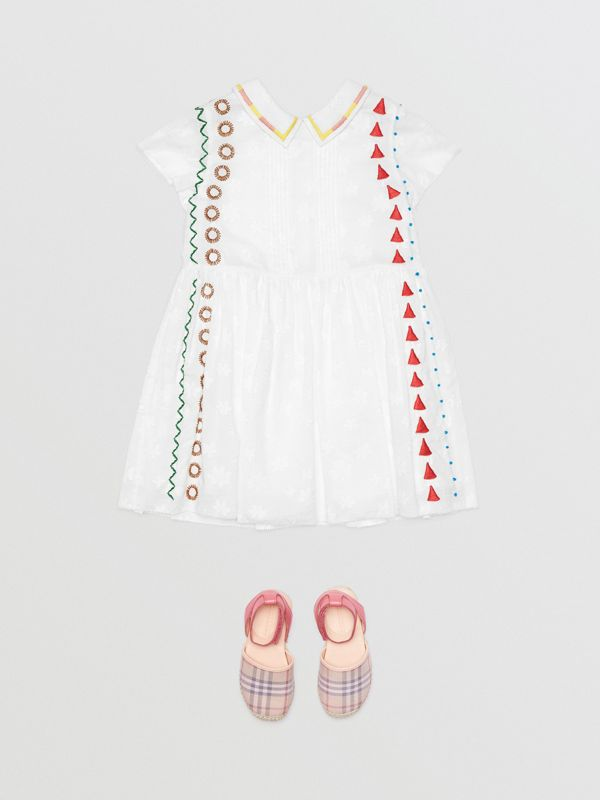 Peter Pan Collar Embroidered Cotton Dress in White | Burberry - cell image 2