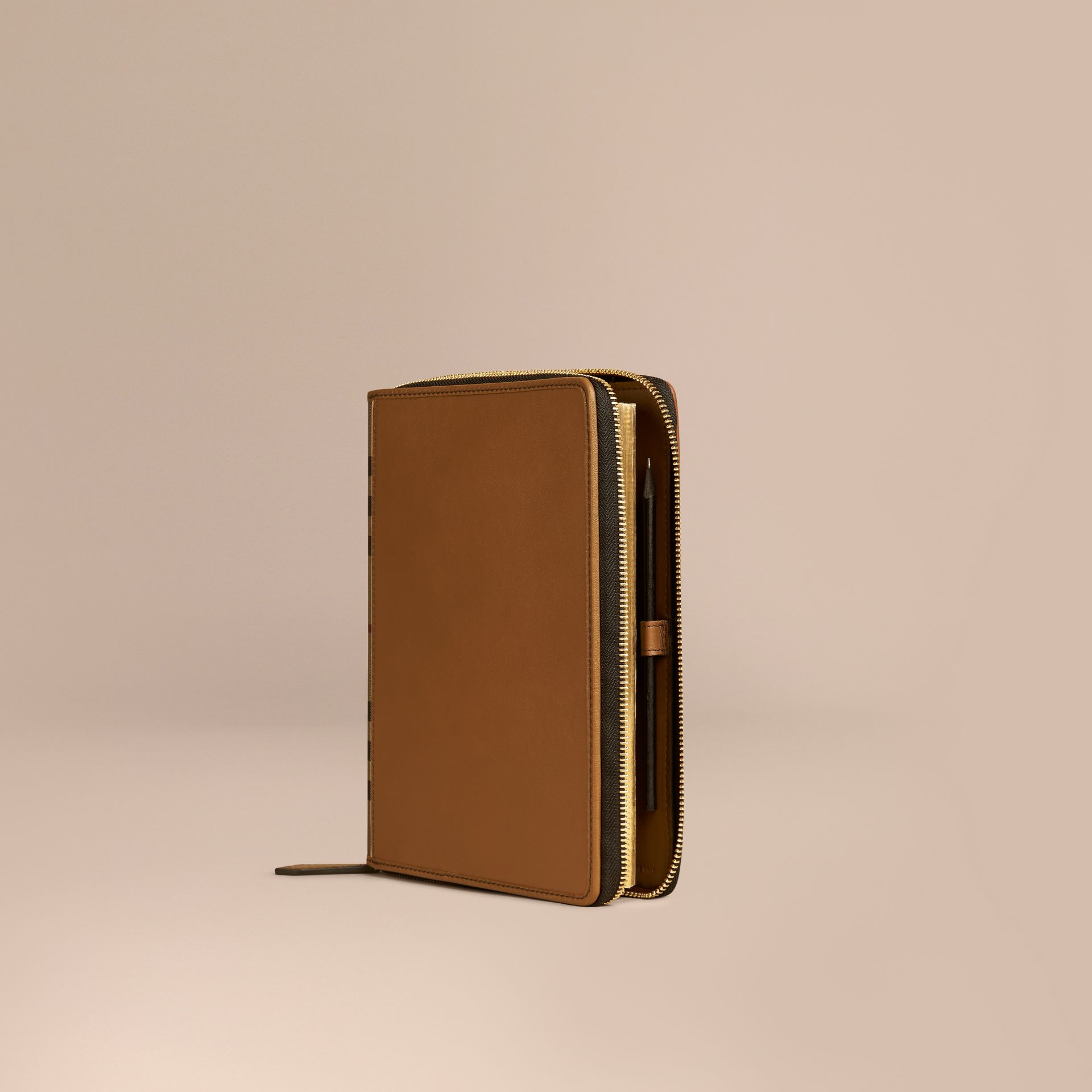 Tan Ziparound Leather and House Check A5 Notebook - gallery image 1