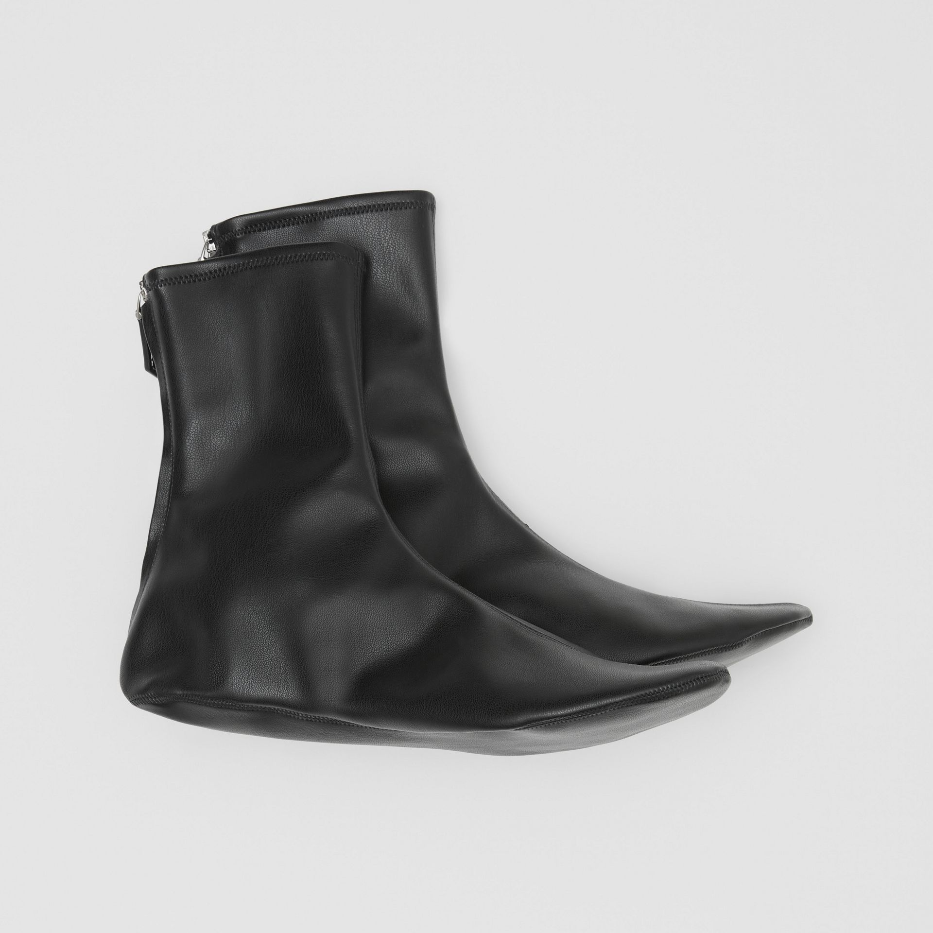 Faux Leather Ankle Socks in Black - Women | Burberry - gallery image 2