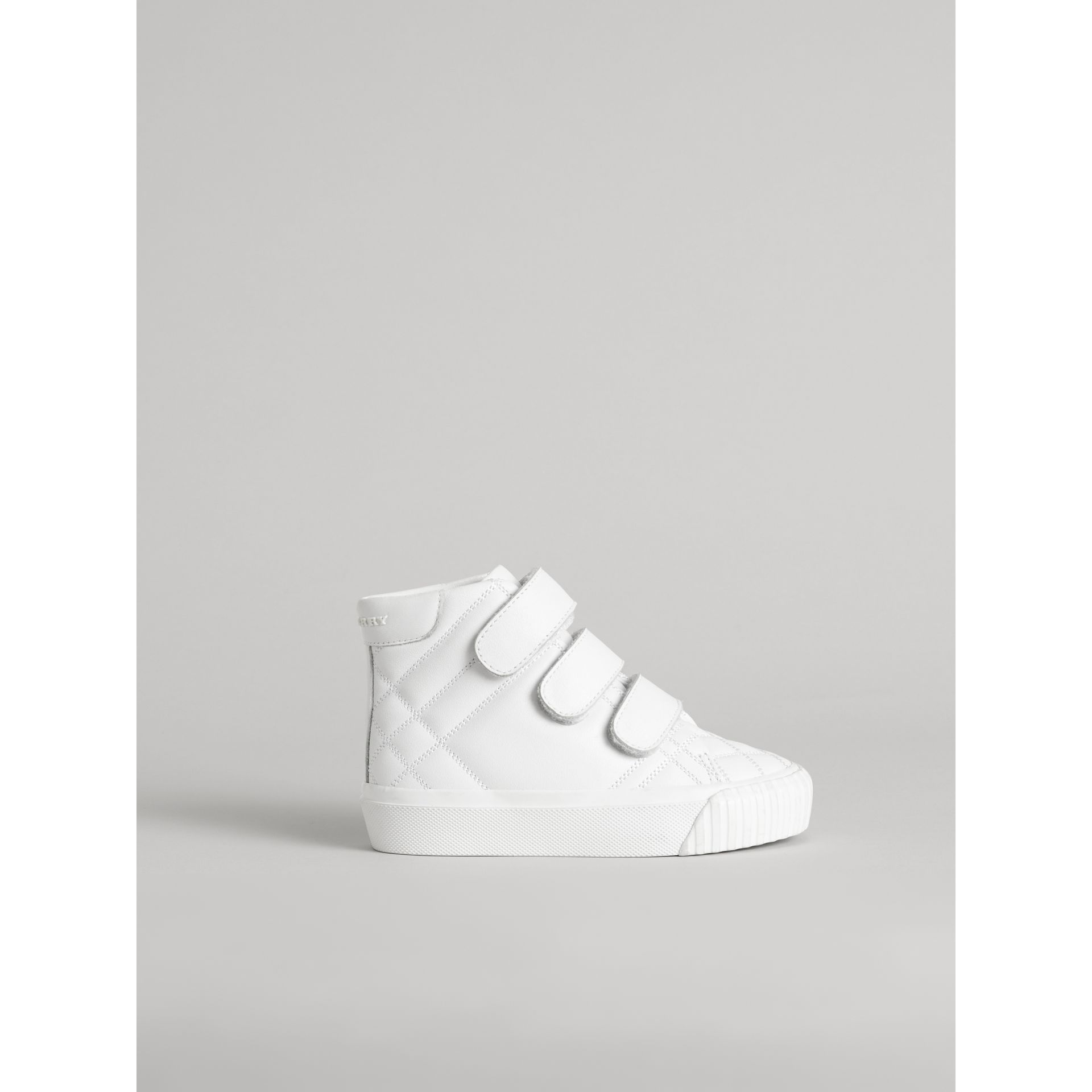 Check-quilted Leather High-top Sneakers in Optic White - Children | Burberry - gallery image 3