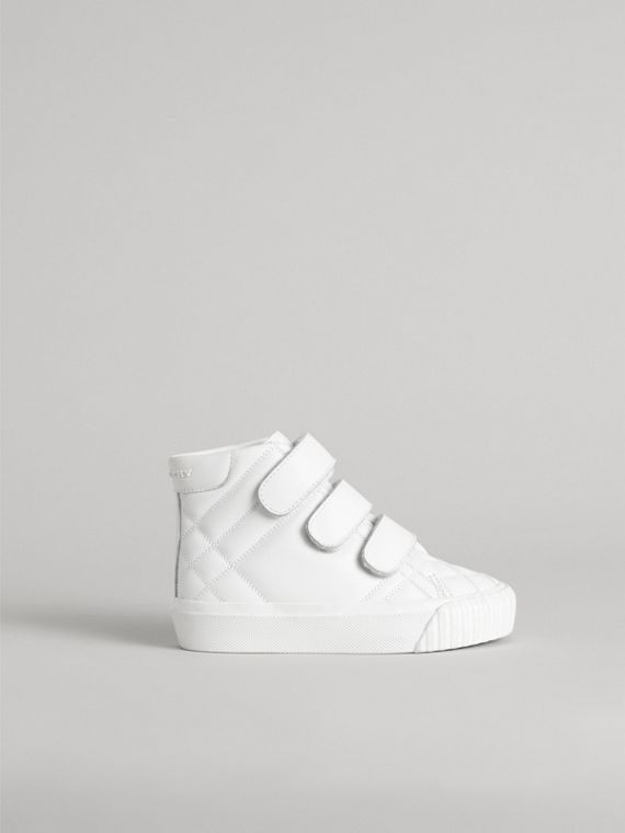 Check-quilted Leather High-top Sneakers in Optic White | Burberry - cell image 3