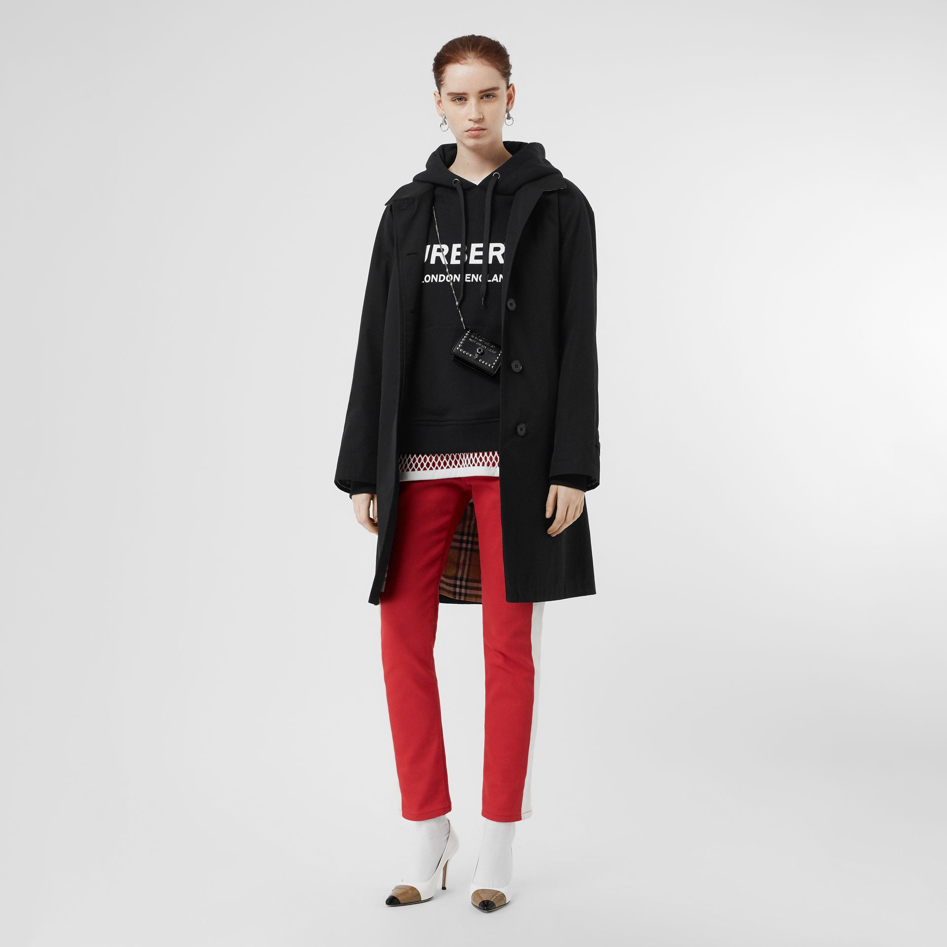 Logo Print Cotton Oversized Hoodie in Black - Women | Burberry - gallery image 4