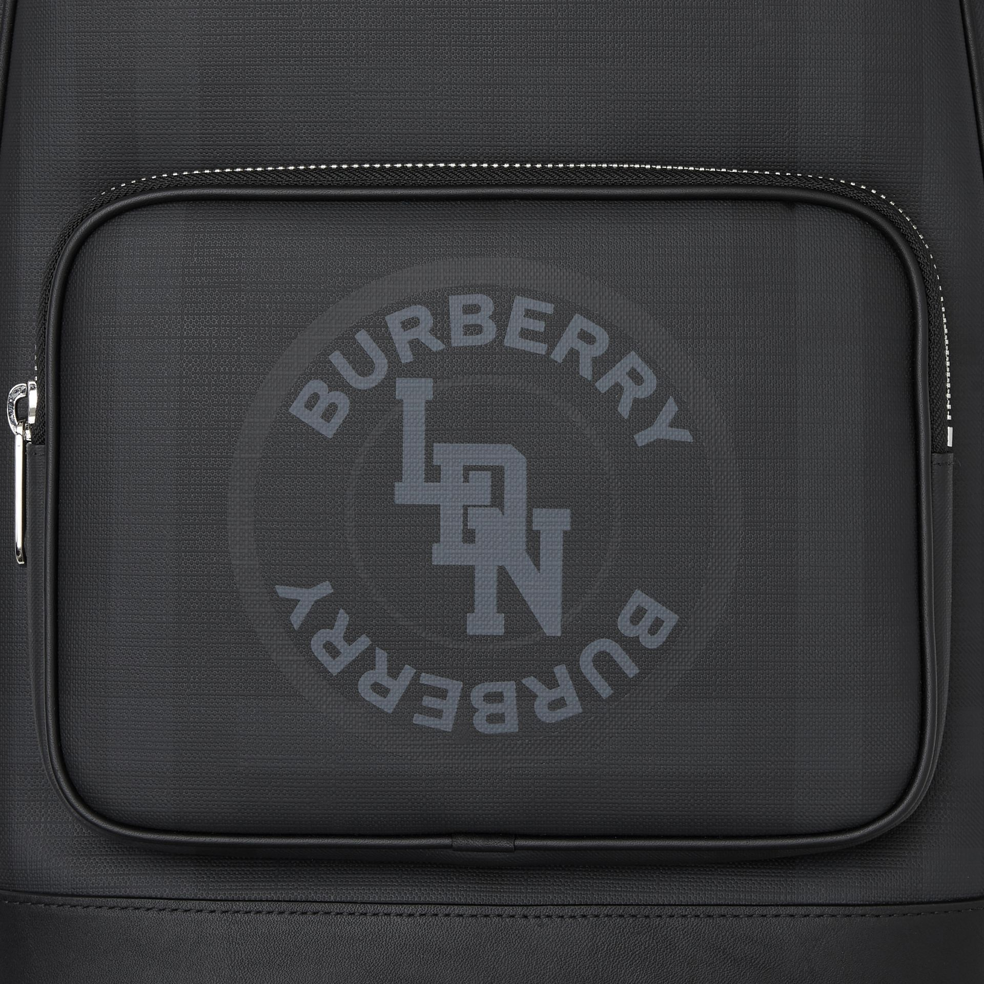 Logo Graphic London Check and Leather Backpack in Dark Charcoal | Burberry Hong Kong S.A.R - gallery image 1
