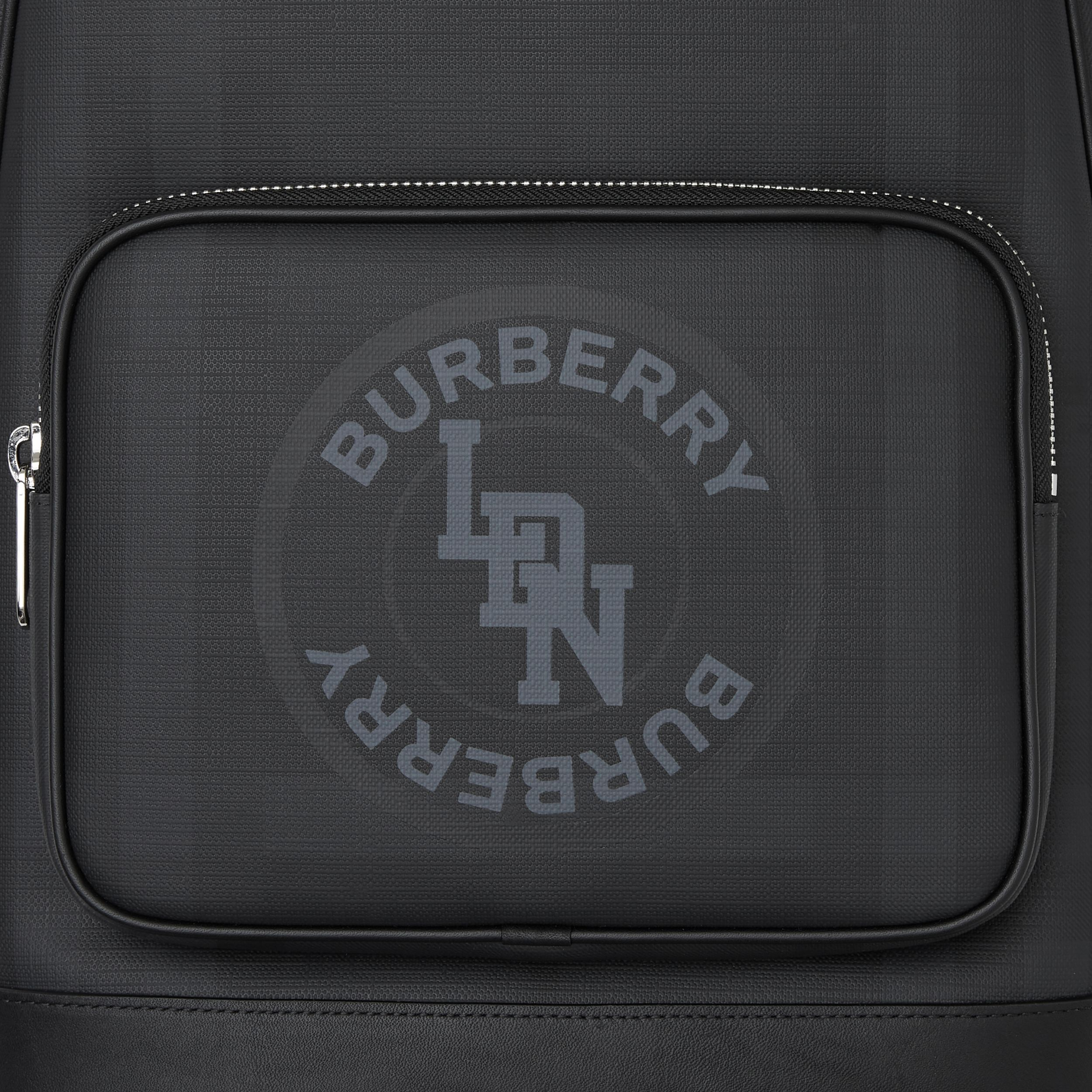 Logo Graphic London Check and Leather Backpack in Dark Charcoal | Burberry - 2