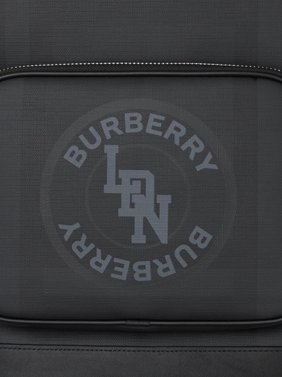 Logo Graphic London Check and Leather Backpack in Dark Charcoal | Burberry Hong Kong S.A.R - cell image 1
