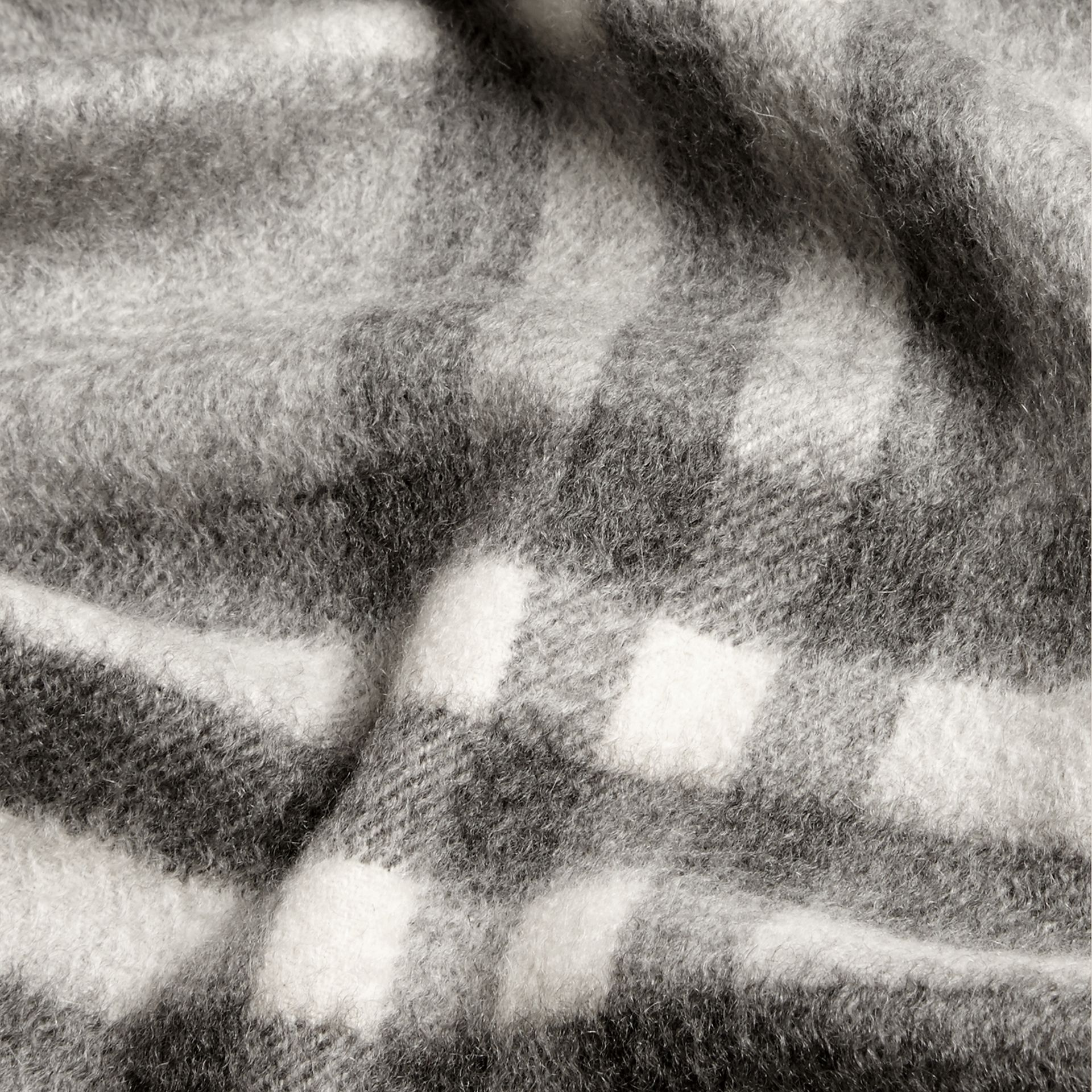 Pale grey The Mini Classic Cashmere Scarf in Check Pale Grey - gallery image 4