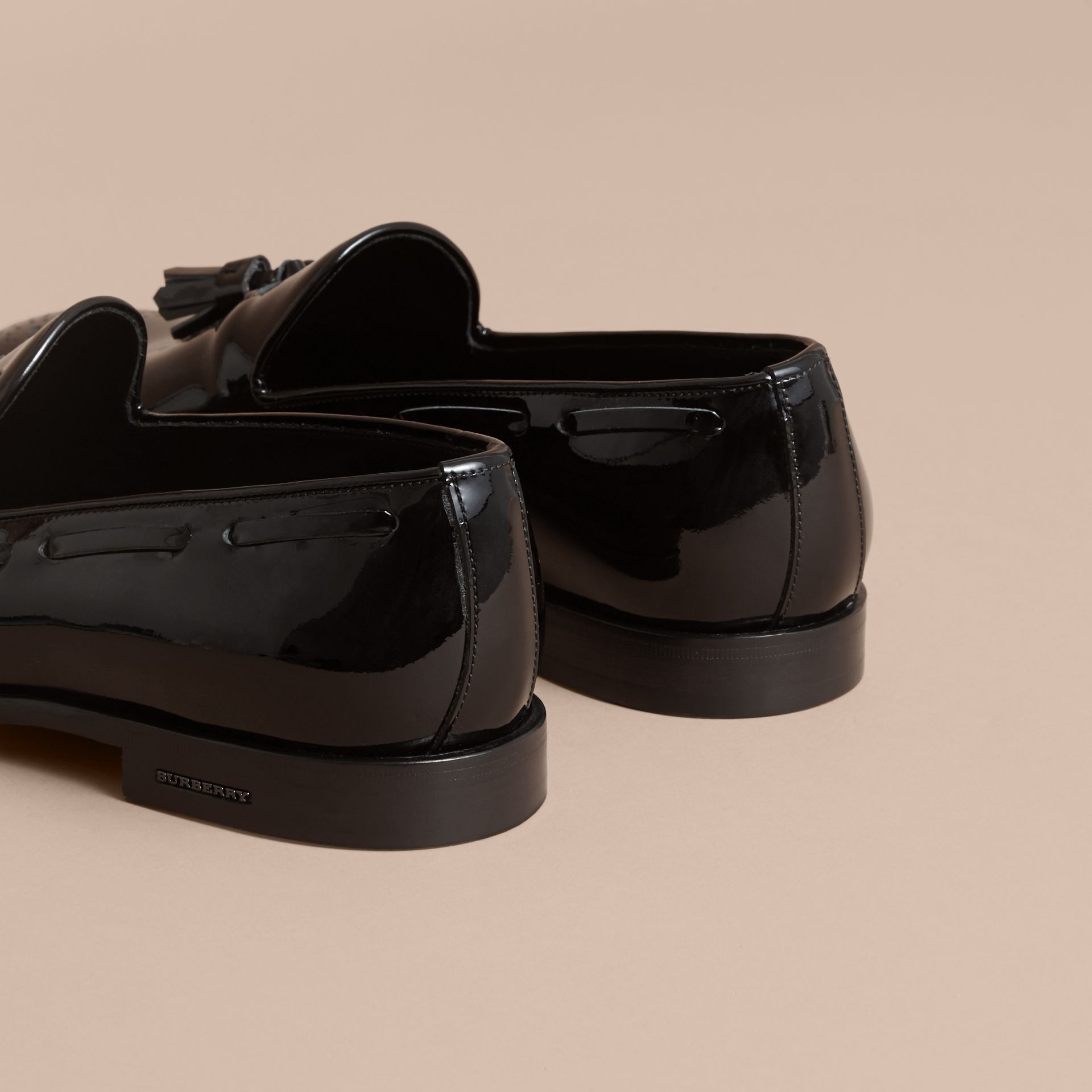 Tasselled Patent Leather Loafers in Black - Men | Burberry Canada - gallery image 3