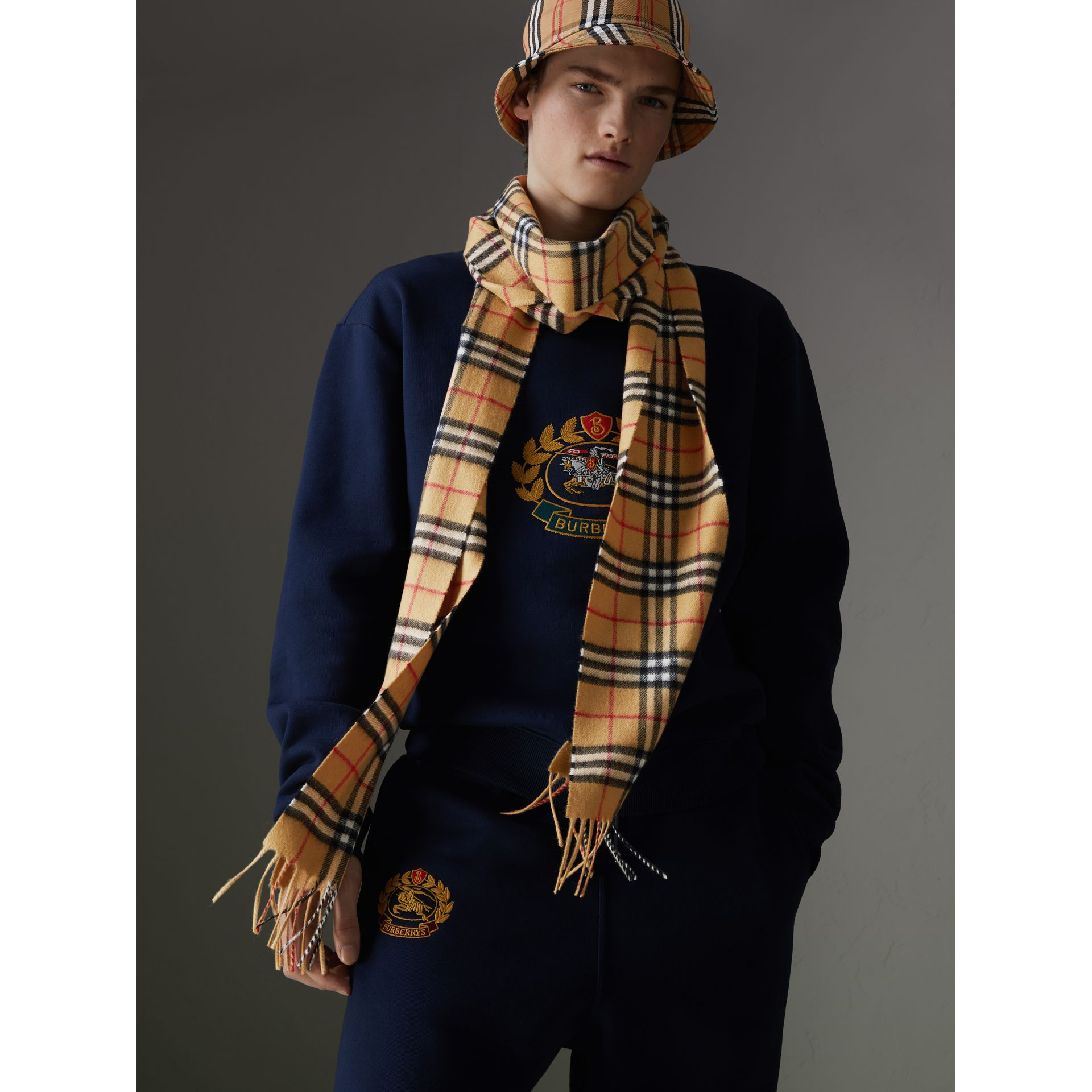 Long Vintage Check Cashmere Scarf in Antique Yellow | Burberry United Kingdom - gallery image 6