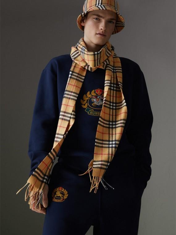 Longue écharpe en cachemire à motif Vintage check (Jaune Antique)