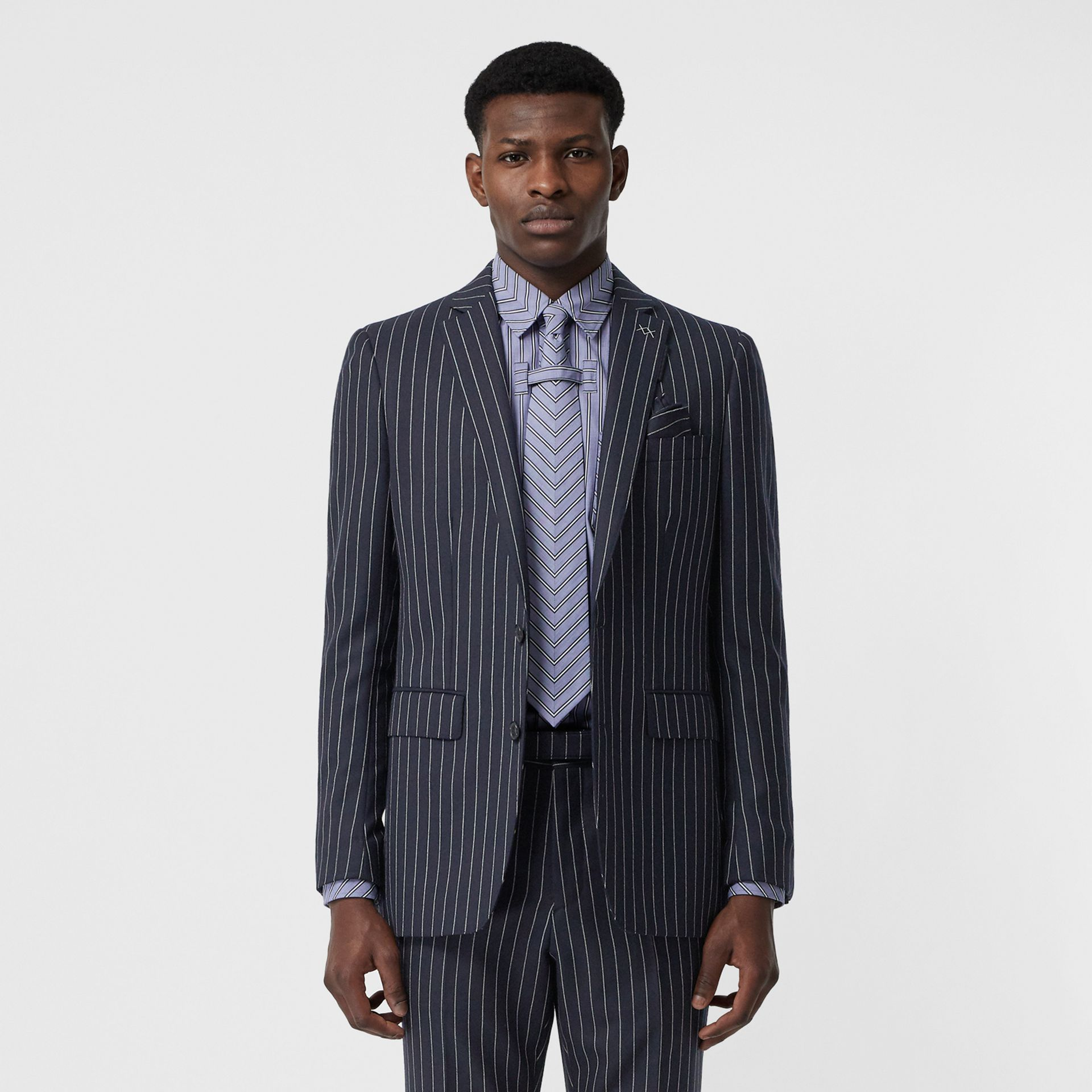 English Fit Pinstriped Wool Tailored Jacket in Dark Navy/white | Burberry Australia - gallery image 6