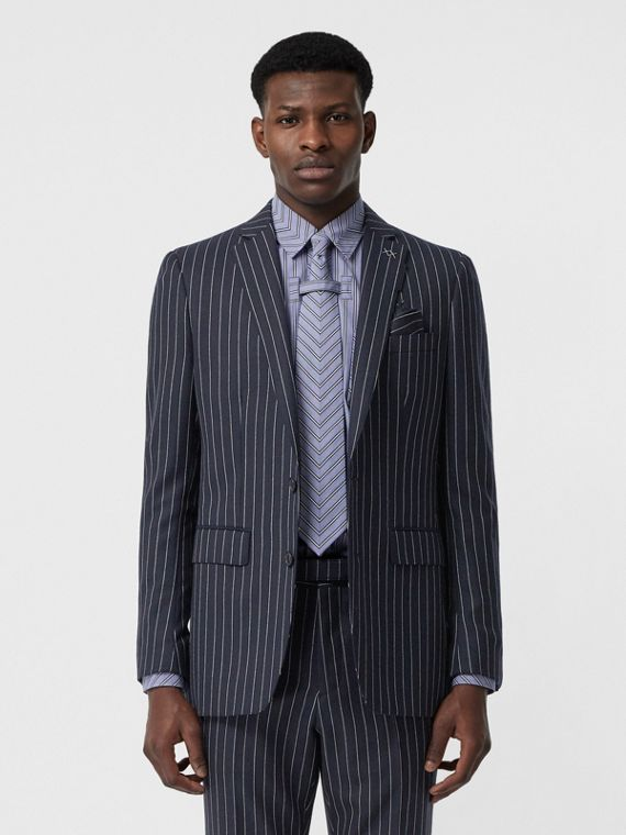 English Fit Pinstriped Wool Tailored Jacket in Dark Navy/white