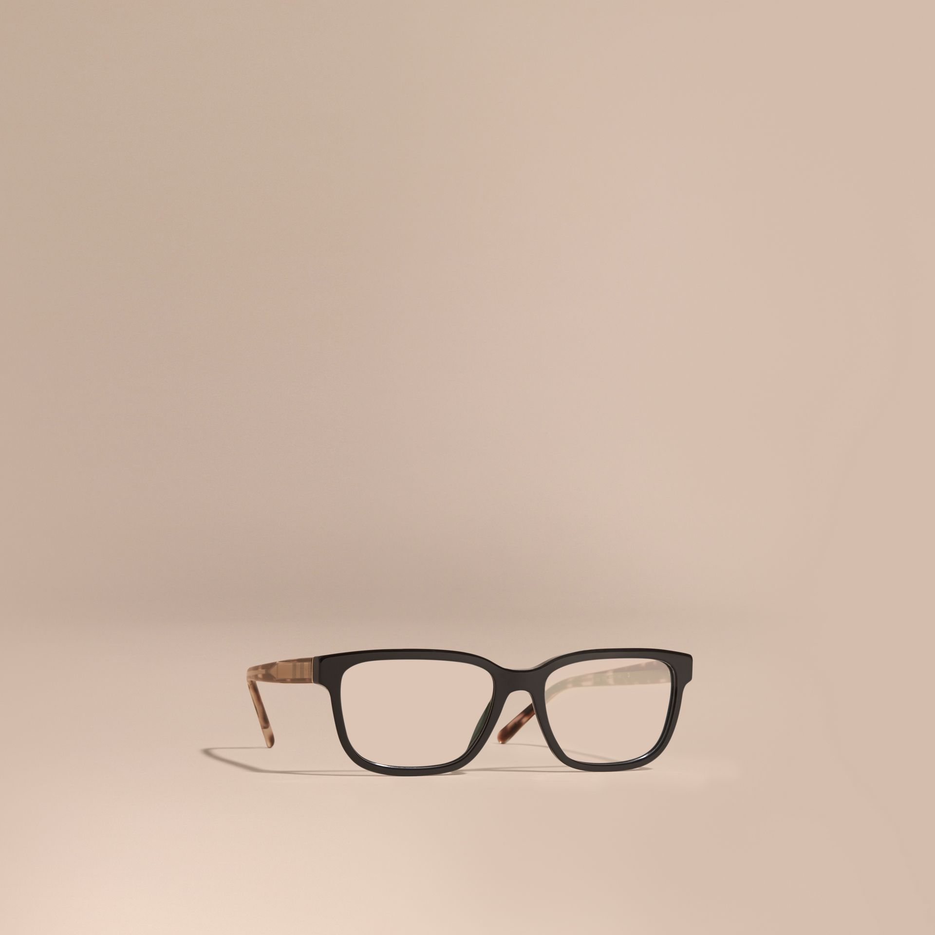Check Detail Rectangular Optical Frames in Black - gallery image 1