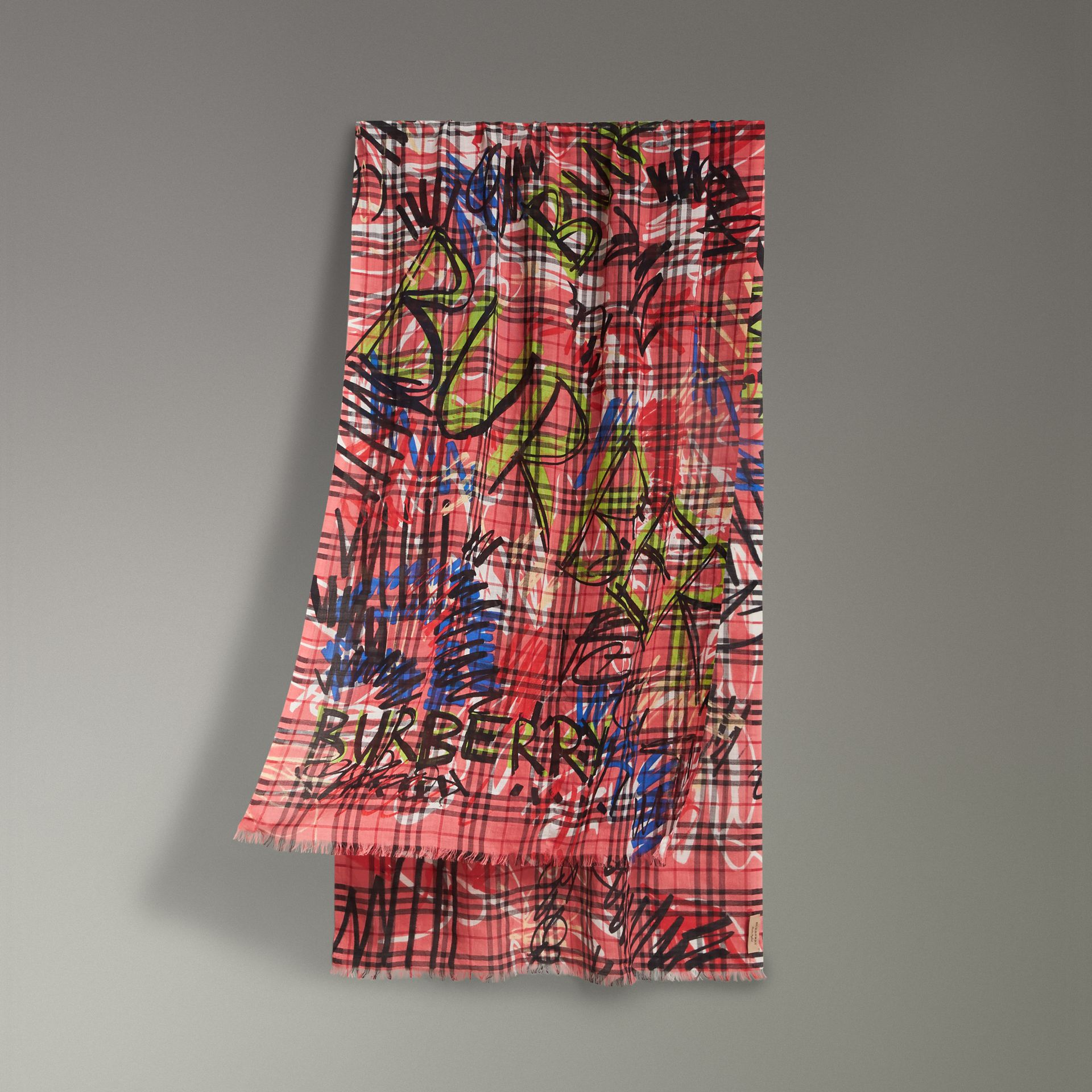 Graffiti Print Vintage Check Wool Silk Scarf in Blossom Pink | Burberry - gallery image 0