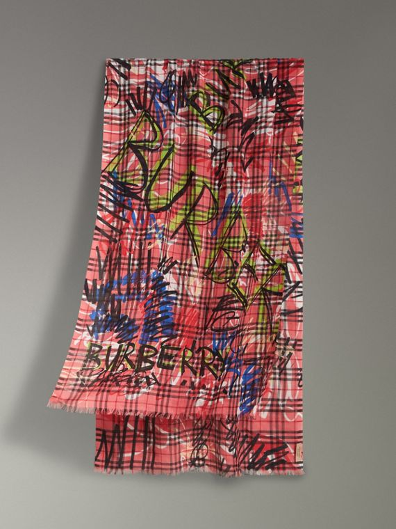 Graffiti Print Vintage Check Wool Silk Scarf in Blossom Pink