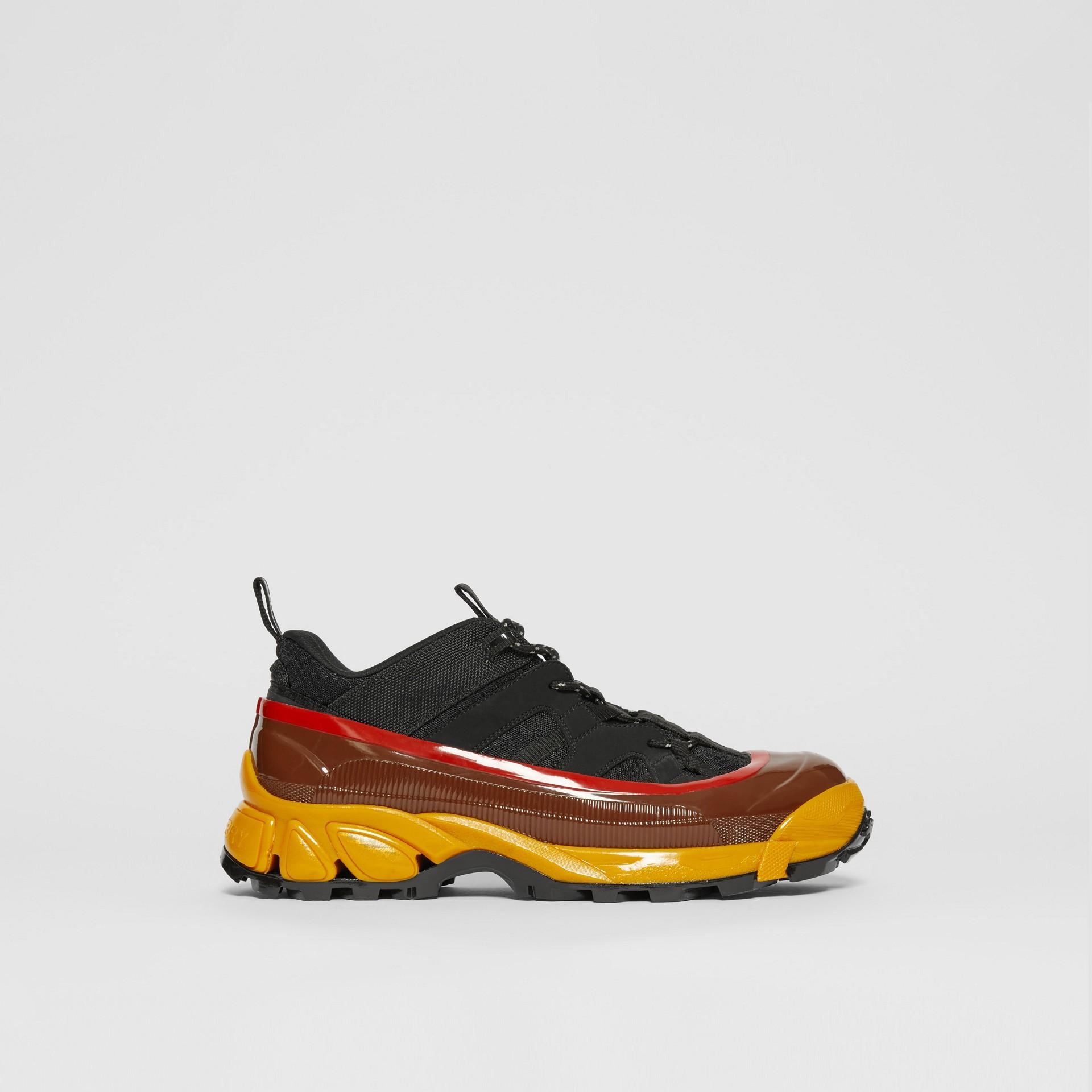 Mesh, Nylon and Nubuck Arthur Sneakers in Black/yellow   Burberry - gallery image 4
