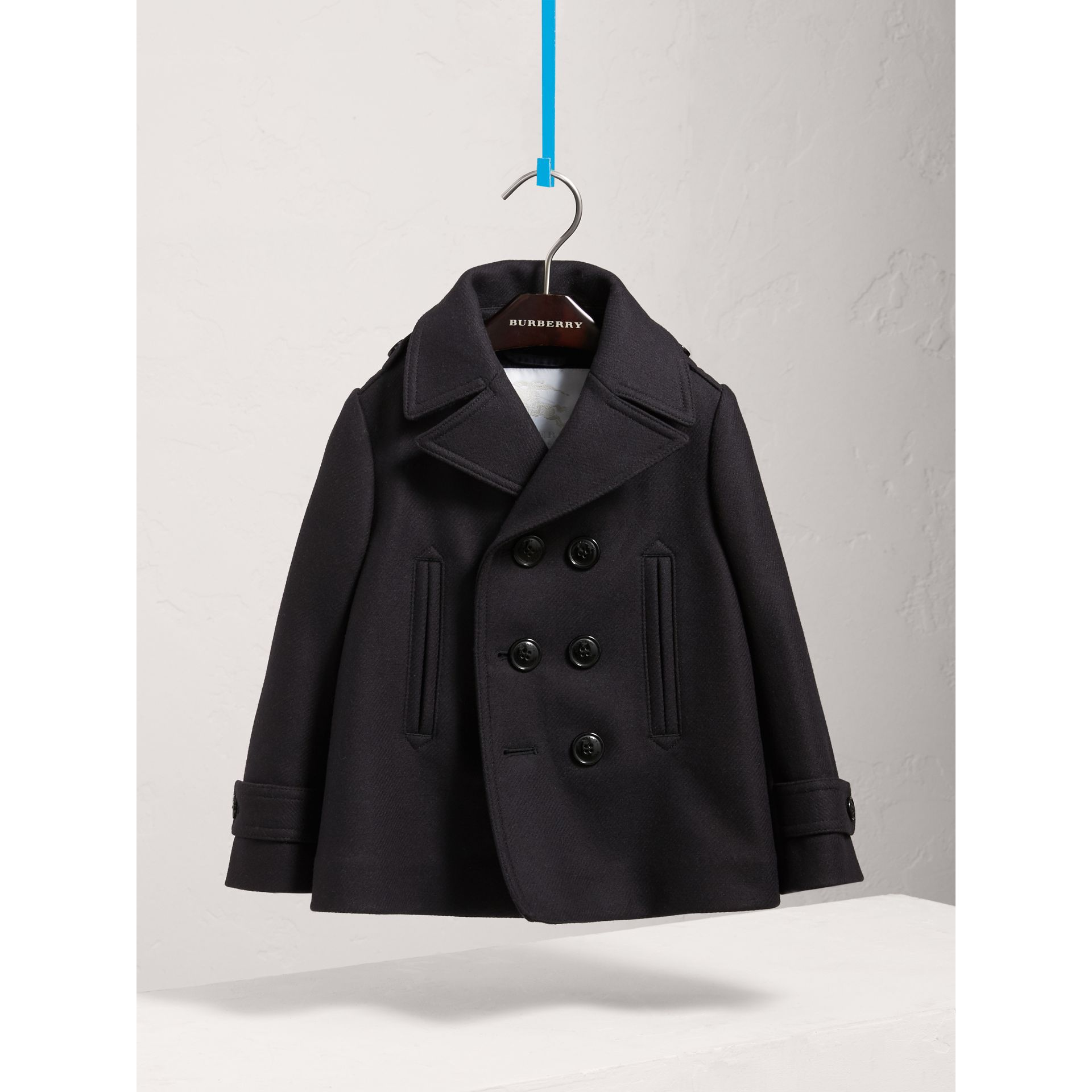Wool Cashmere Pea Coat with Down-filled Gilet in Navy - Boy | Burberry United Kingdom - gallery image 2