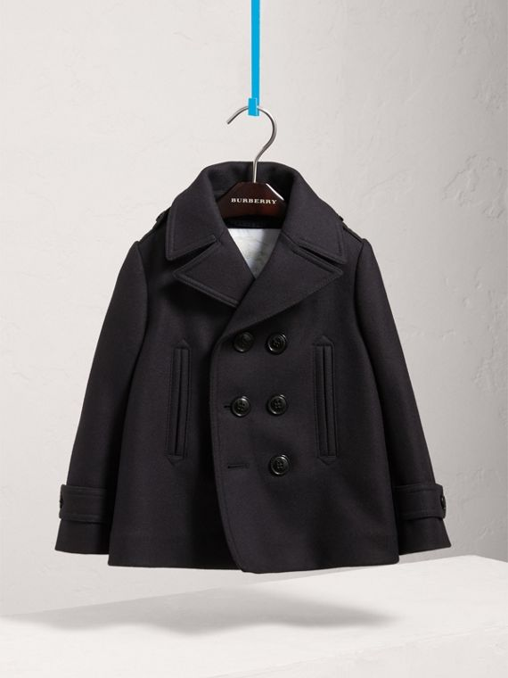 Wool Cashmere Pea Coat with Down-filled Gilet in Navy - Boy | Burberry United Kingdom - cell image 2