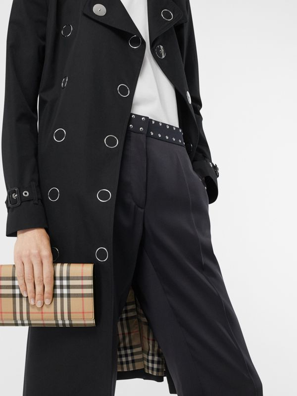 Vintage Check E-canvas Wallet with Detachable Strap in Black - Women | Burberry Singapore - cell image 2
