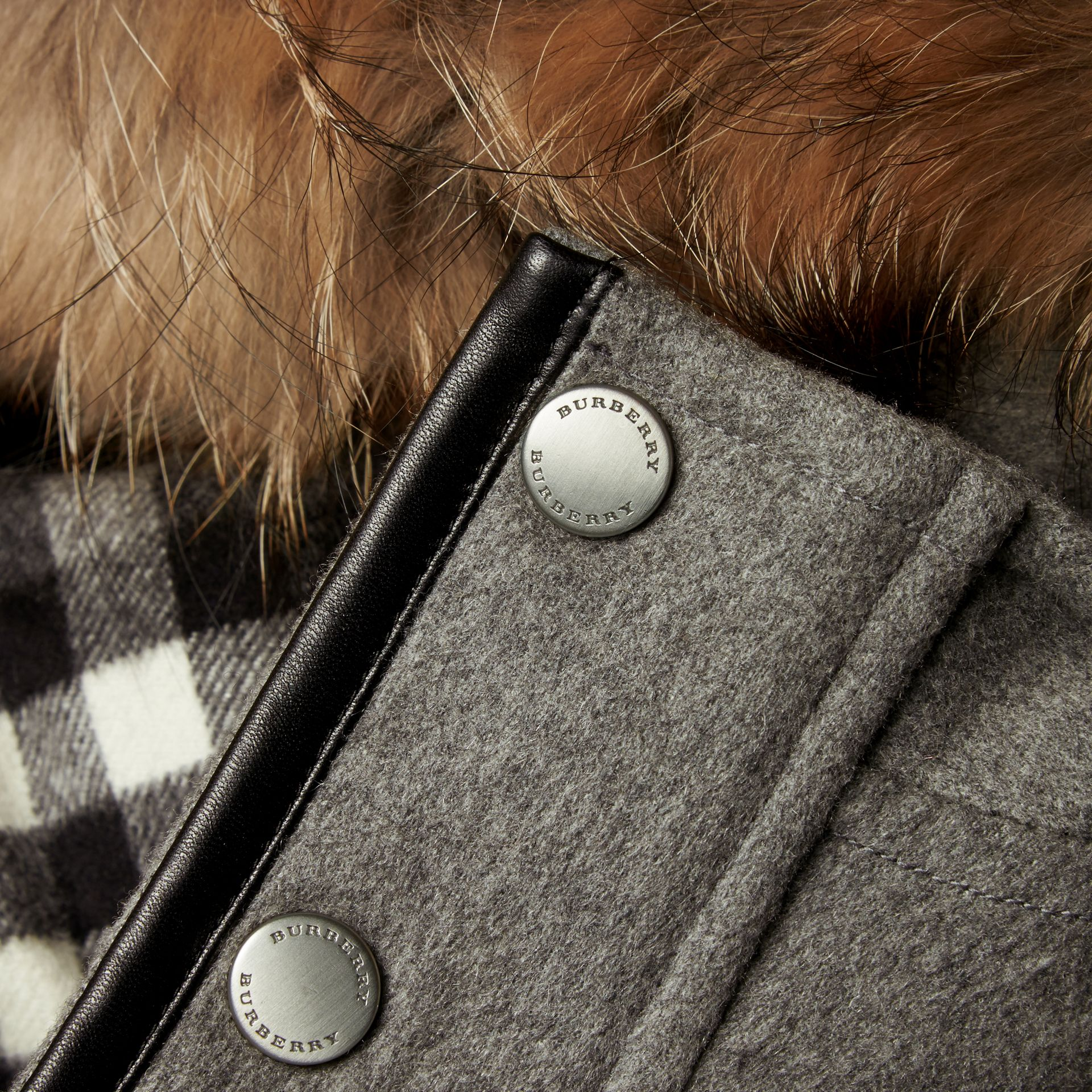 Down-filled Cashmere Parka with Detachable Fur Trim in Mid Grey Melange - gallery image 2