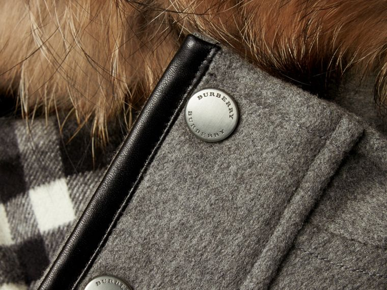 Down-filled Cashmere Parka with Detachable Fur Trim in Mid Grey Melange - cell image 1