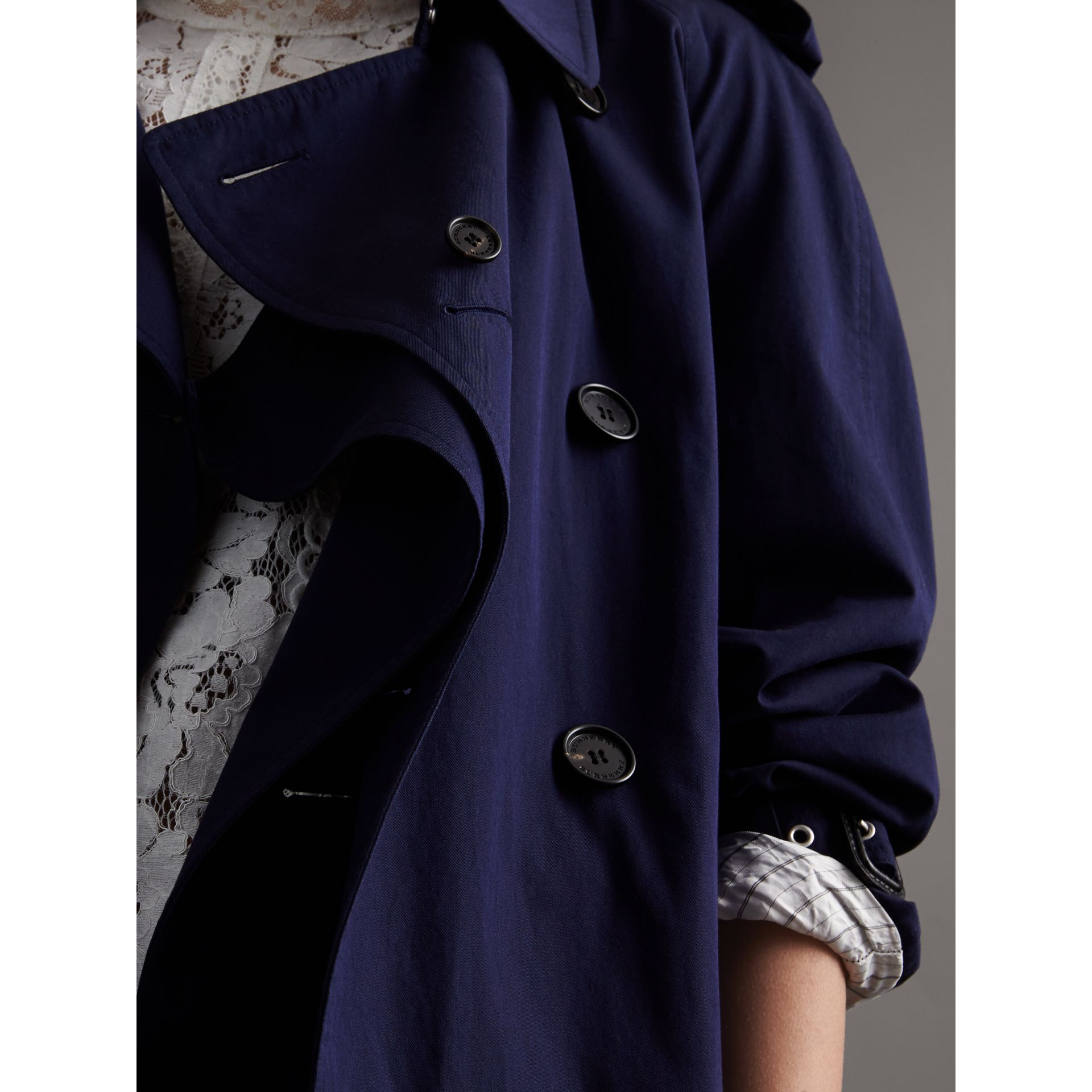 Unisex Tropical Gabardine Trench Jacket in Blueberry - gallery image 4