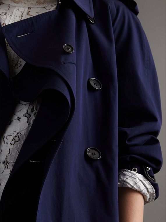 Unisex Tropical Gabardine Trench Jacket in Blueberry - cell image 3
