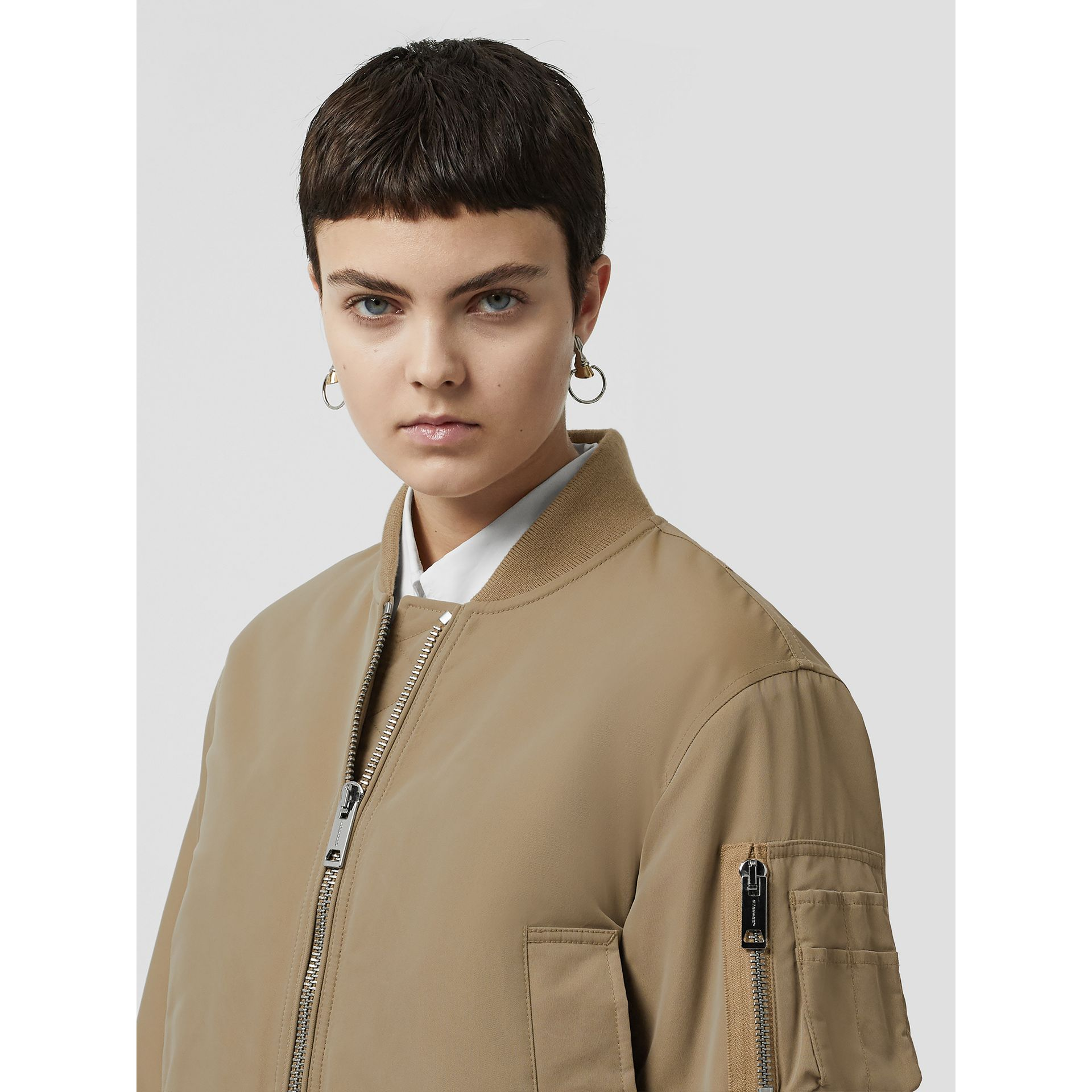 Union Jack Motif Nylon Bomber Jacket in Honey - Women | Burberry - gallery image 1