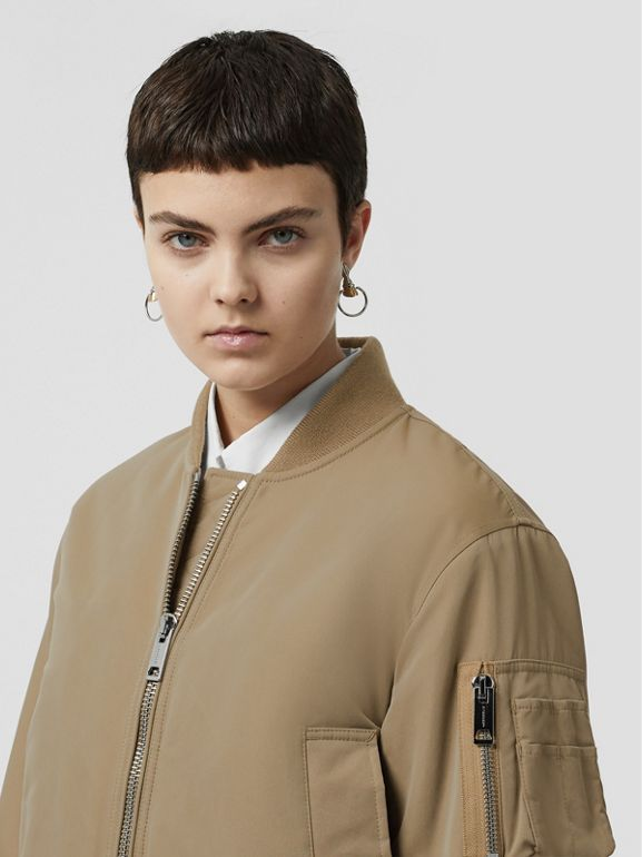Union Jack Motif Nylon Bomber Jacket in Honey - Women | Burberry - cell image 1