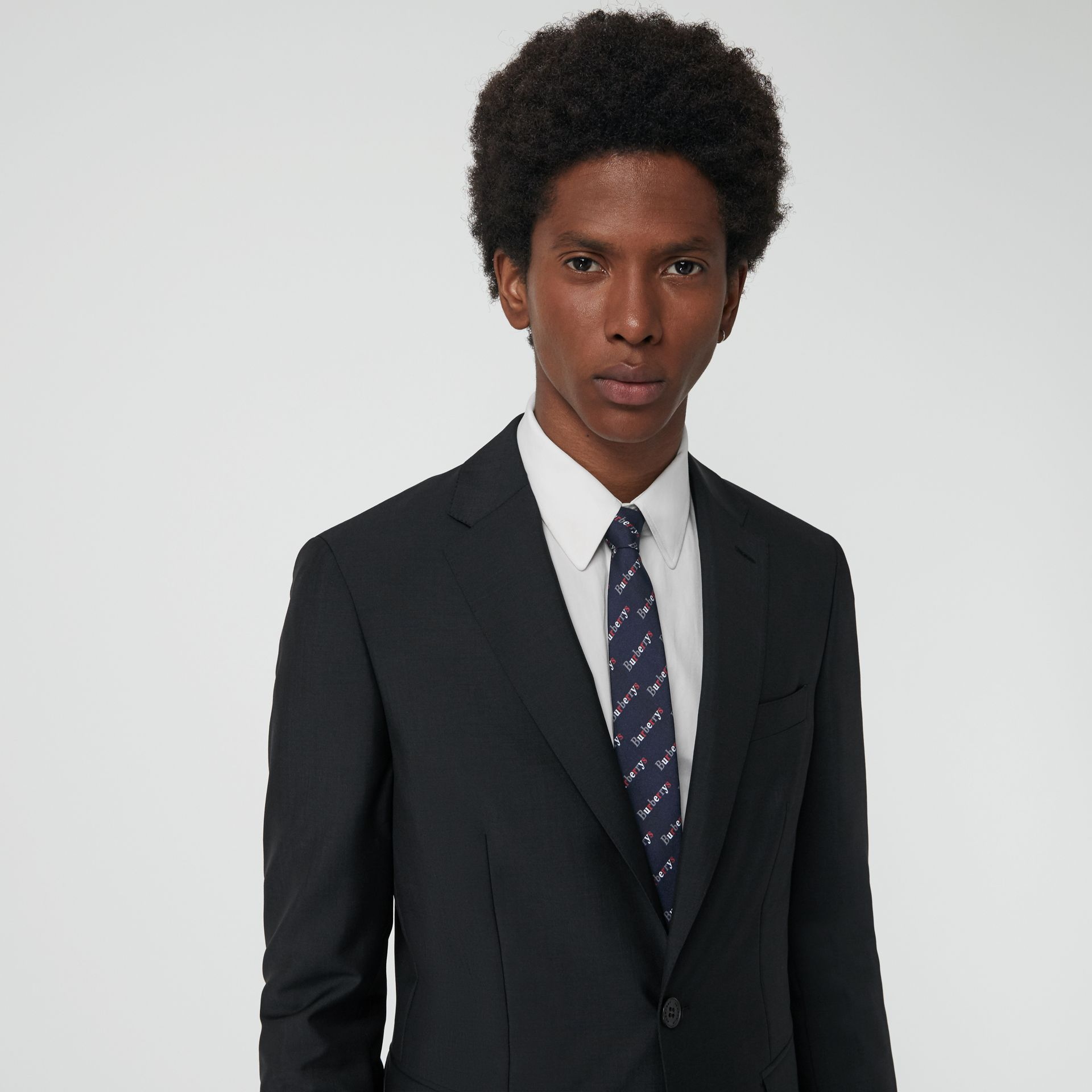 Soho Fit Wool Mohair Suit in Dark Grey Melange - Men | Burberry - gallery image 1