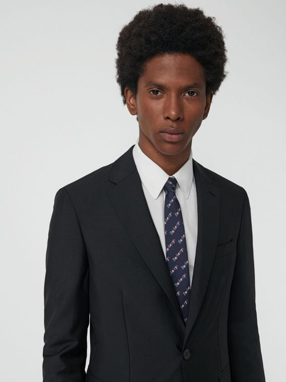 Soho Fit Wool Mohair Suit in Dark Grey Melange - Men | Burberry United Kingdom - cell image 1