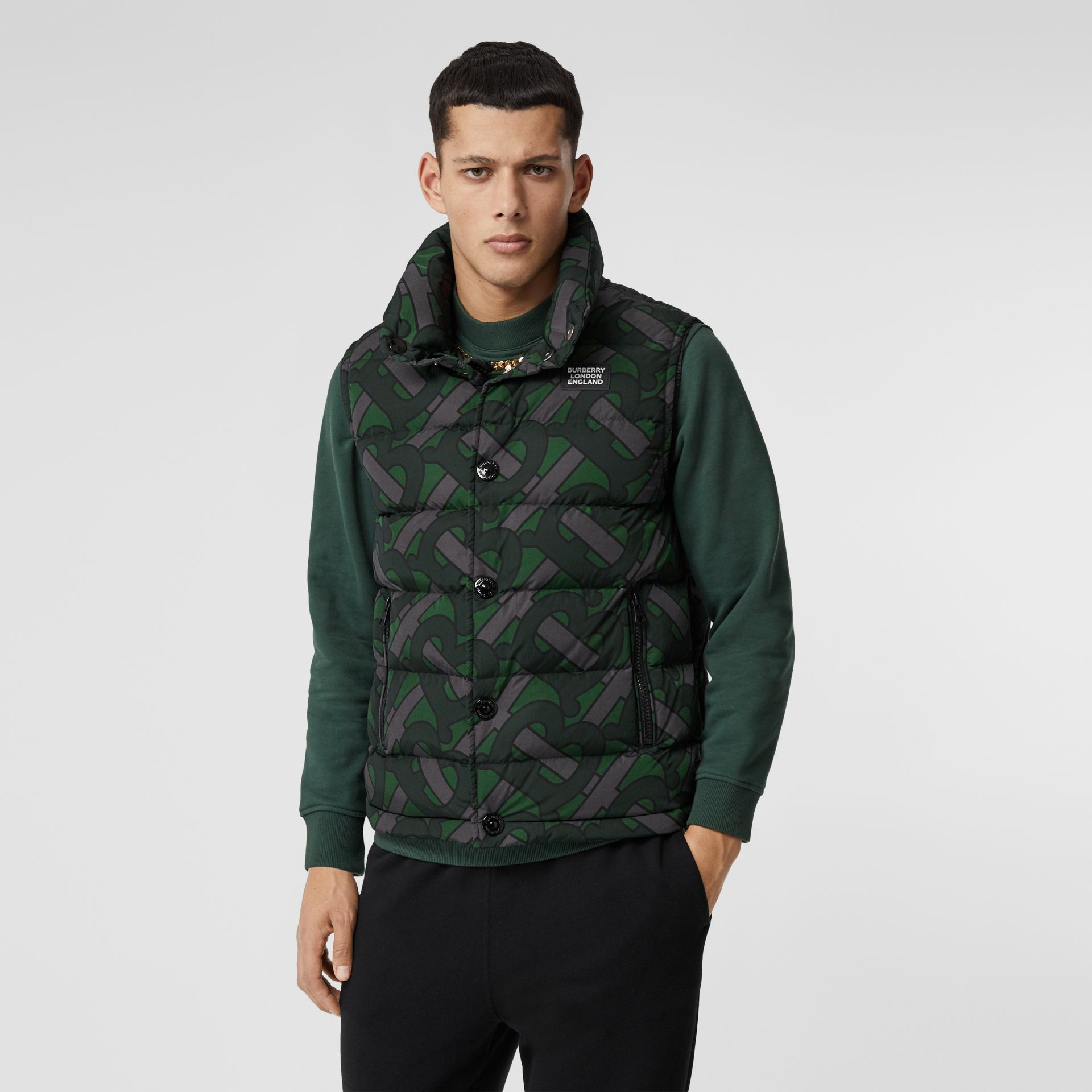 Monogram Print Puffer Gilet in Forest Green | Burberry - gallery image 6