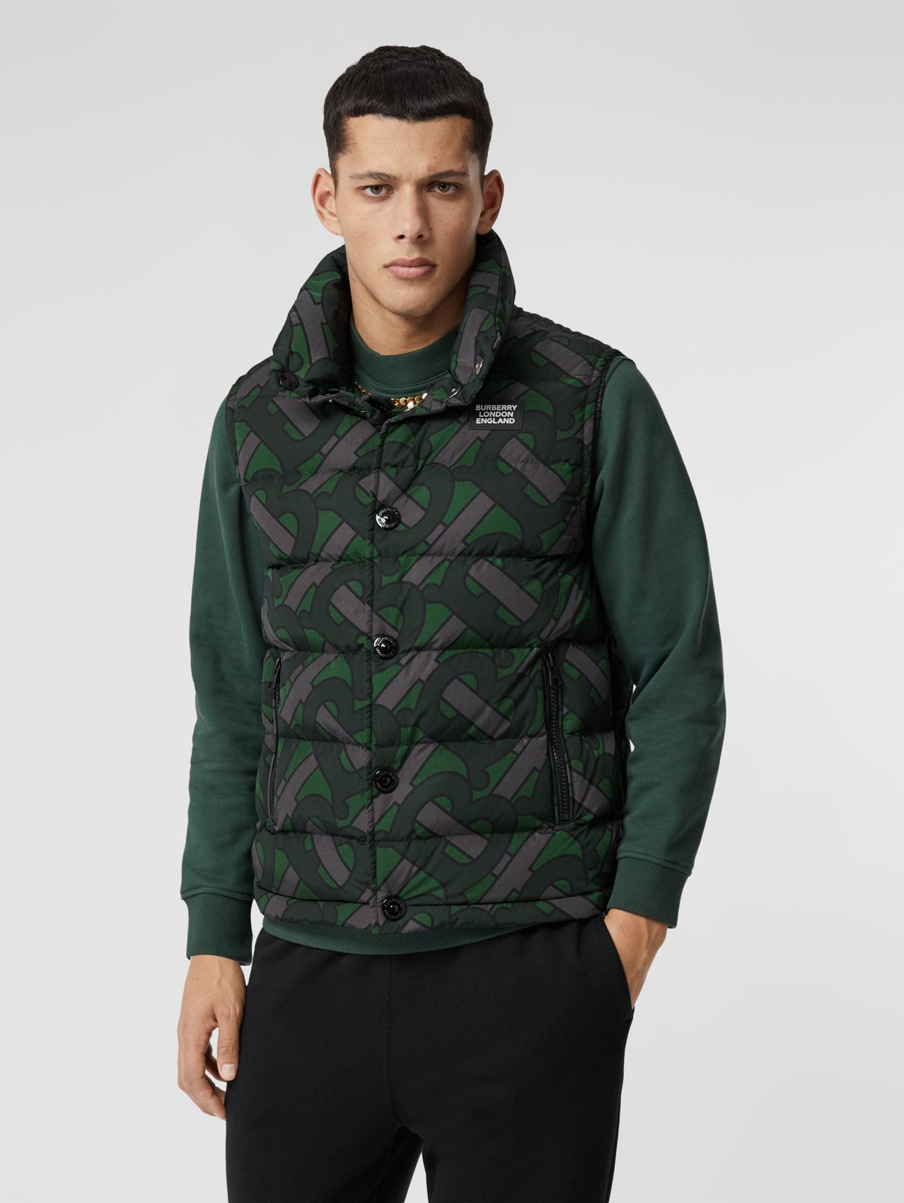 Monogram Print Puffer Gilet in Forest Green